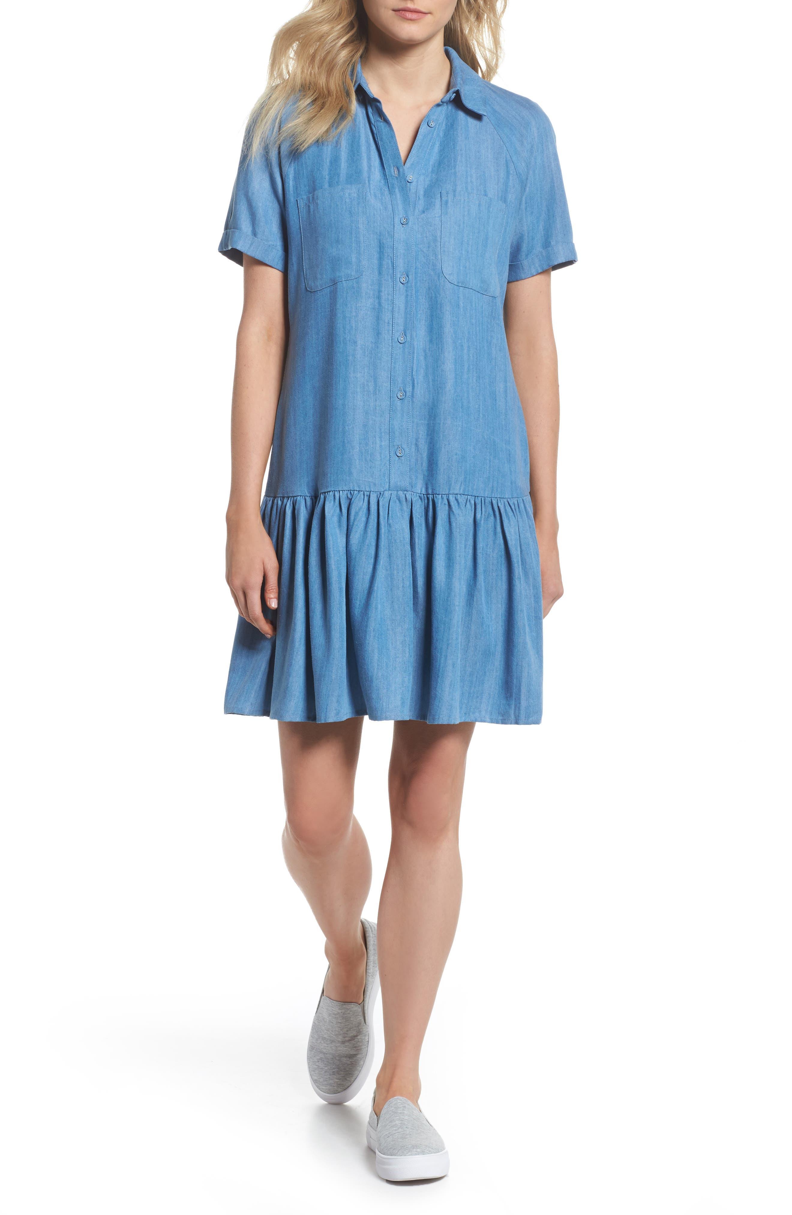 Maven Ruffle Shirtdress,                             Main thumbnail 1, color,                             Washed Indigo