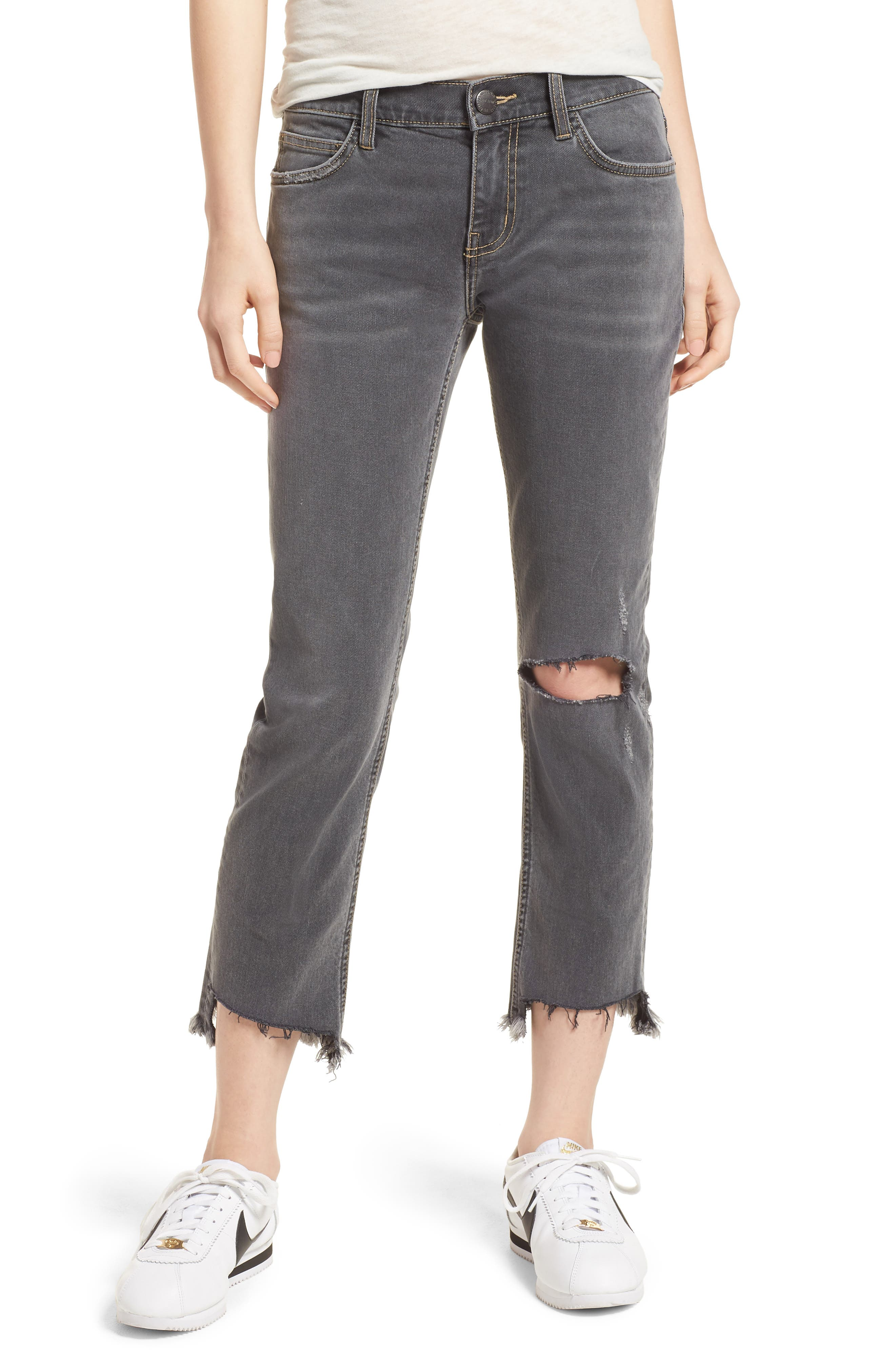 Main Image - Current/Elliott The Cropped Straight Leg Jeans (Austen Destroy)