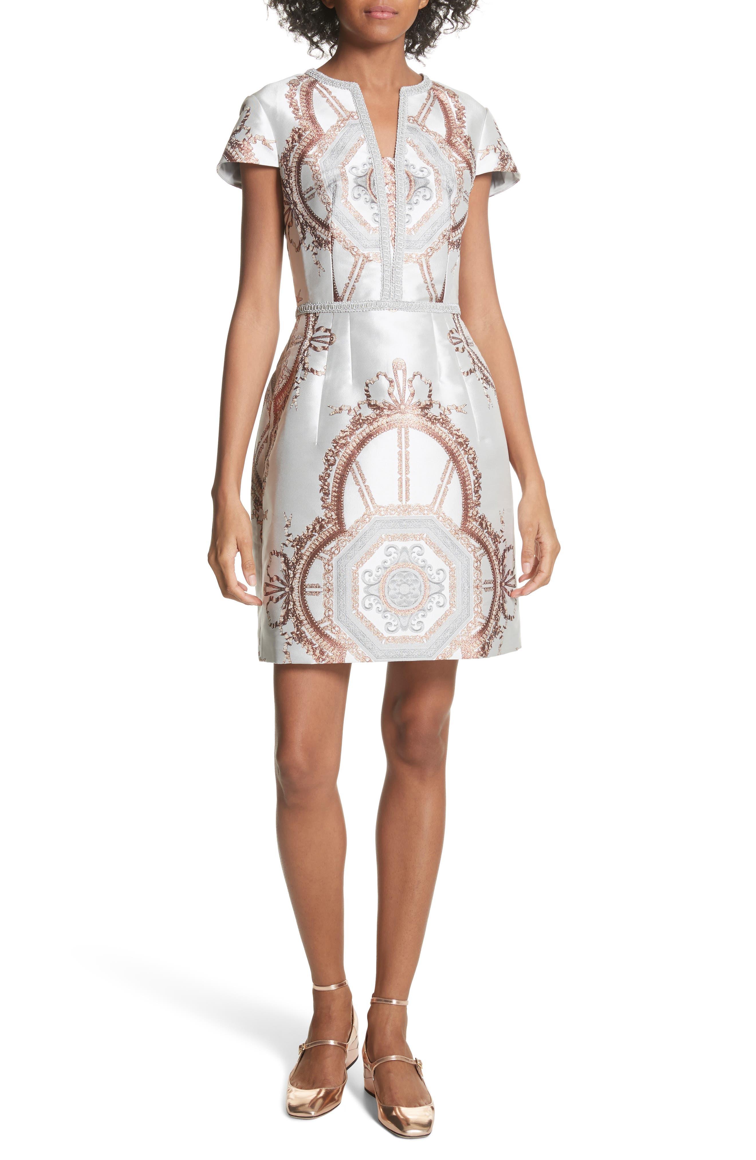 Versailles Dress,                             Main thumbnail 1, color,                             White