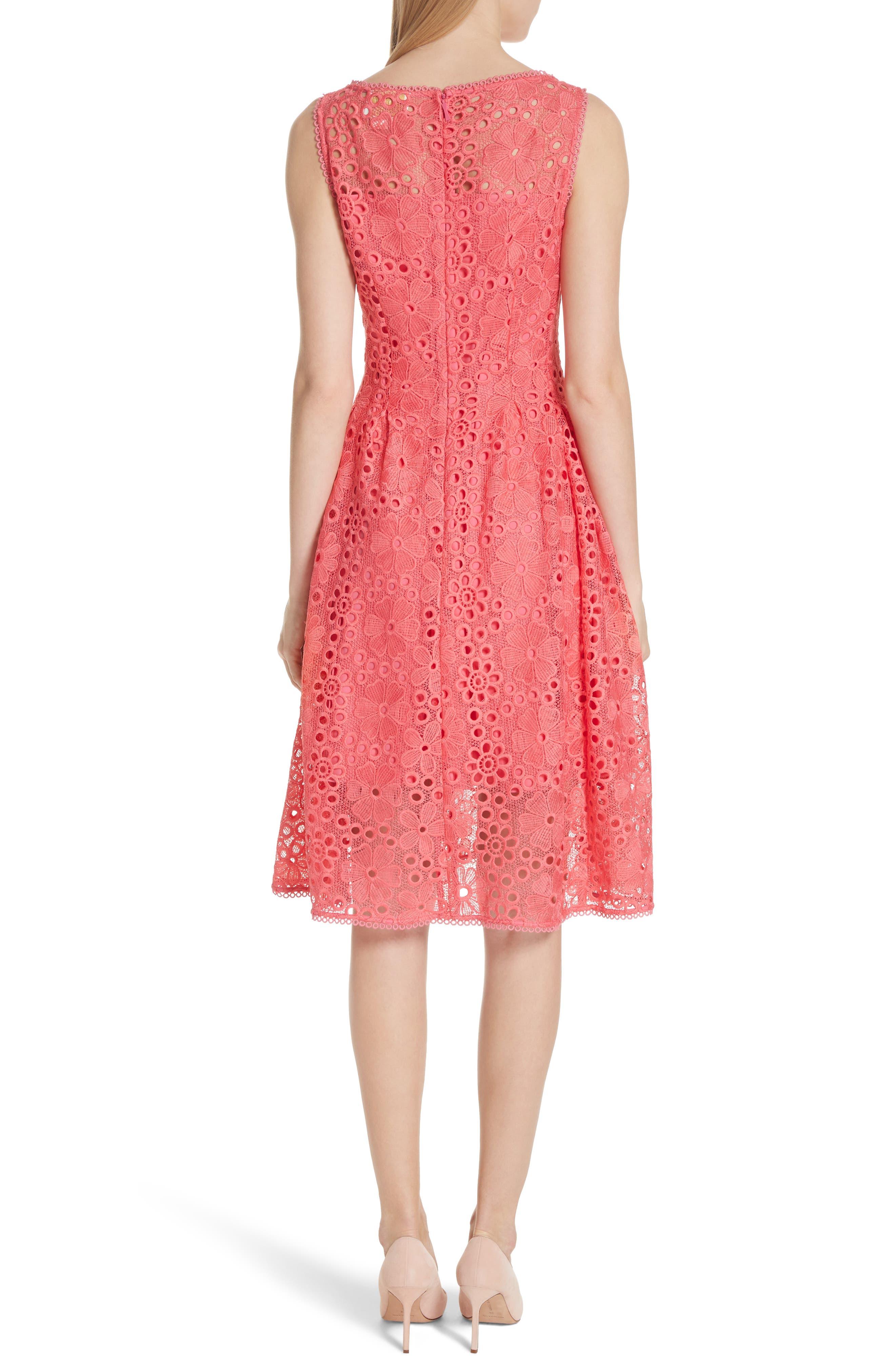 lace fit & flare dress,                             Alternate thumbnail 2, color,                             Peach Sherbet