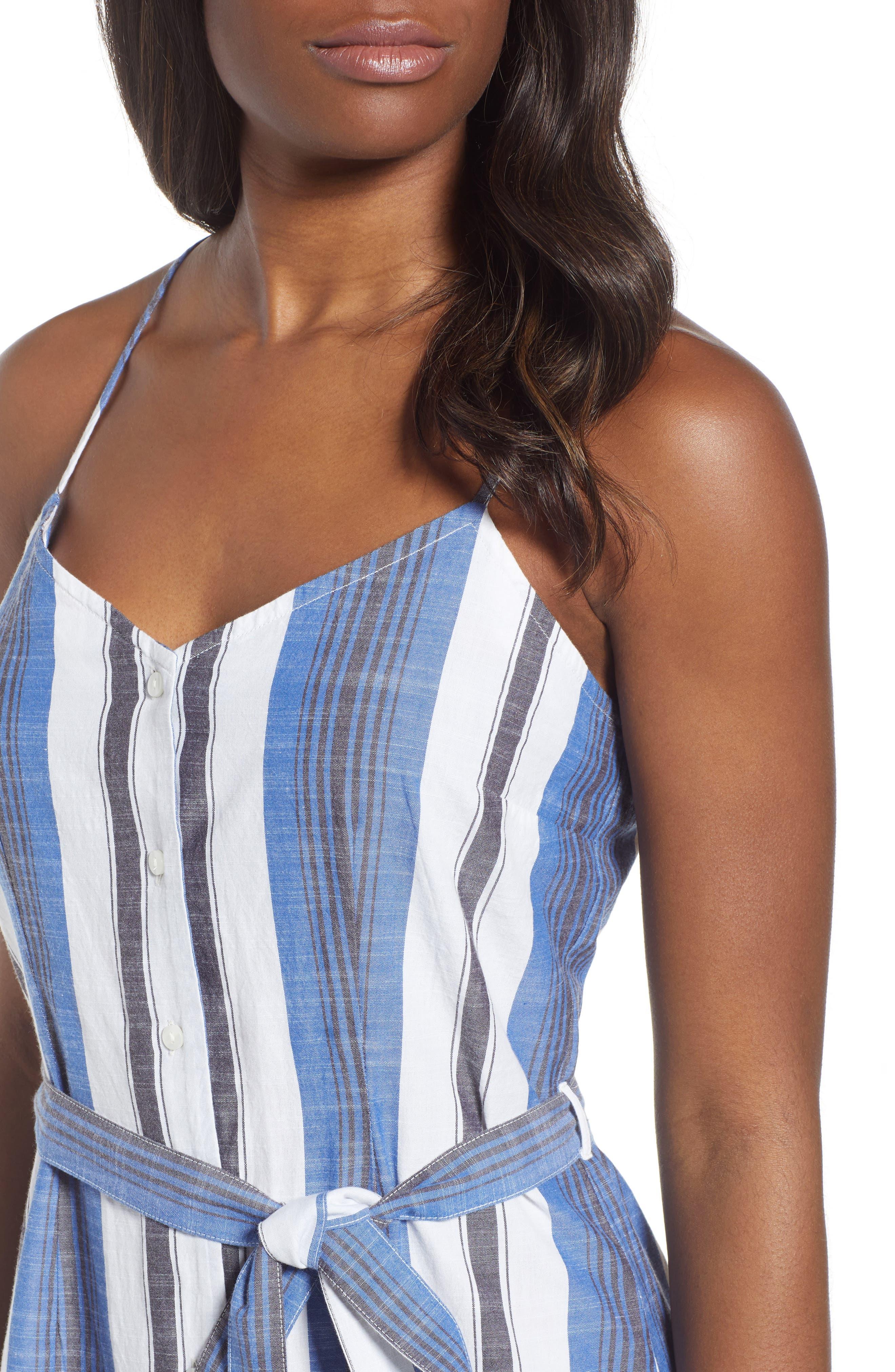 Stripe Cotton Sundress,                             Alternate thumbnail 4, color,                             Blue Multi