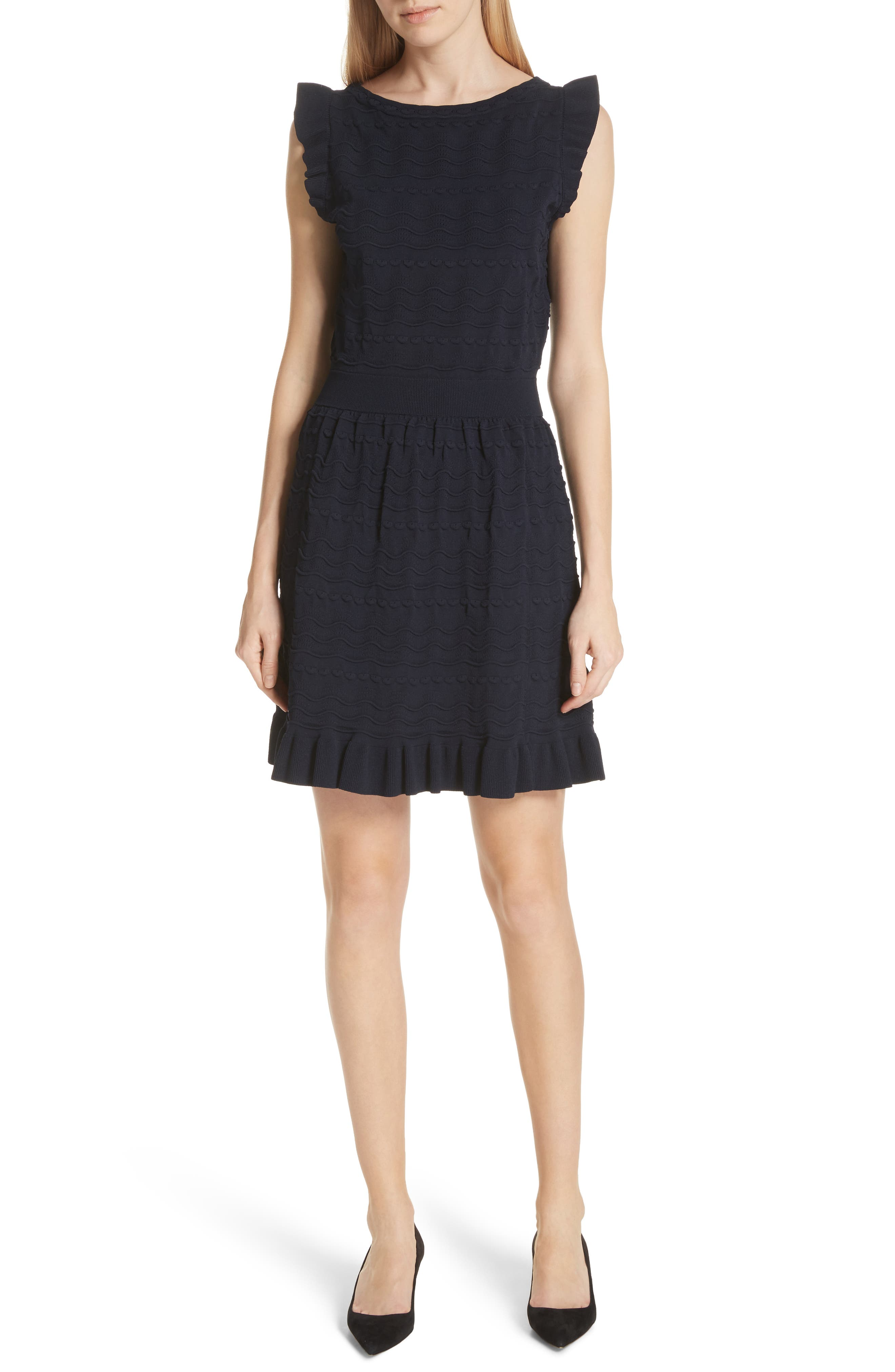 kate spade textured sweater dress,                         Main,                         color, Rich Navy