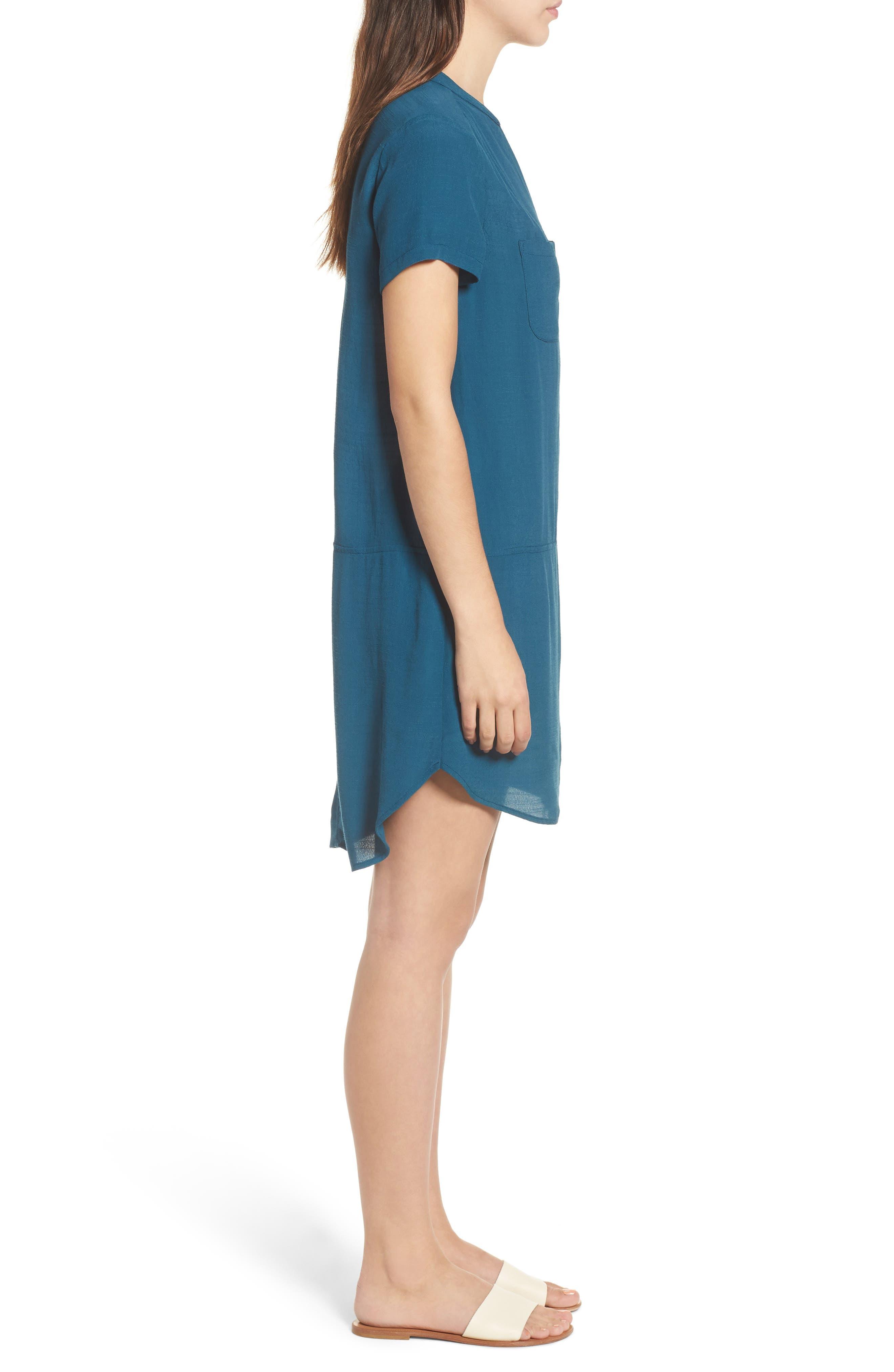 Split Neck Shift Dress,                             Alternate thumbnail 3, color,                             Legion Blue