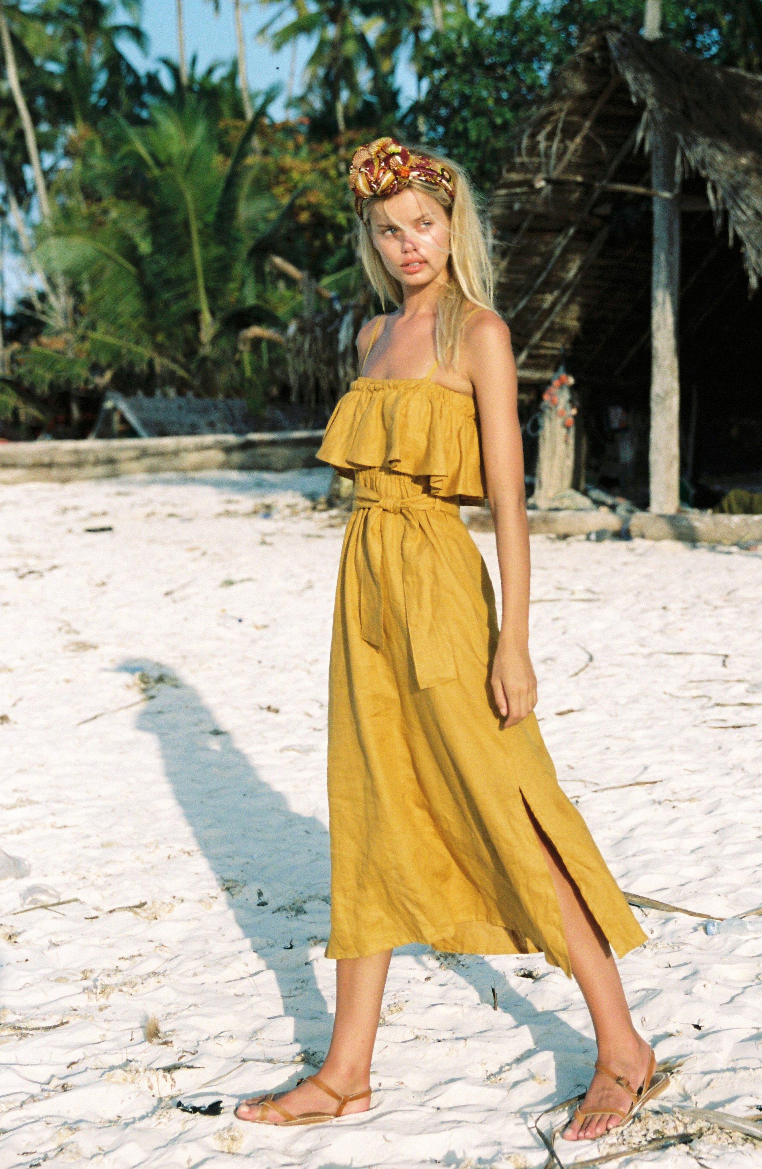 Santo Linen Midi Dress,                             Alternate thumbnail 2, color,                             Plain Marigold