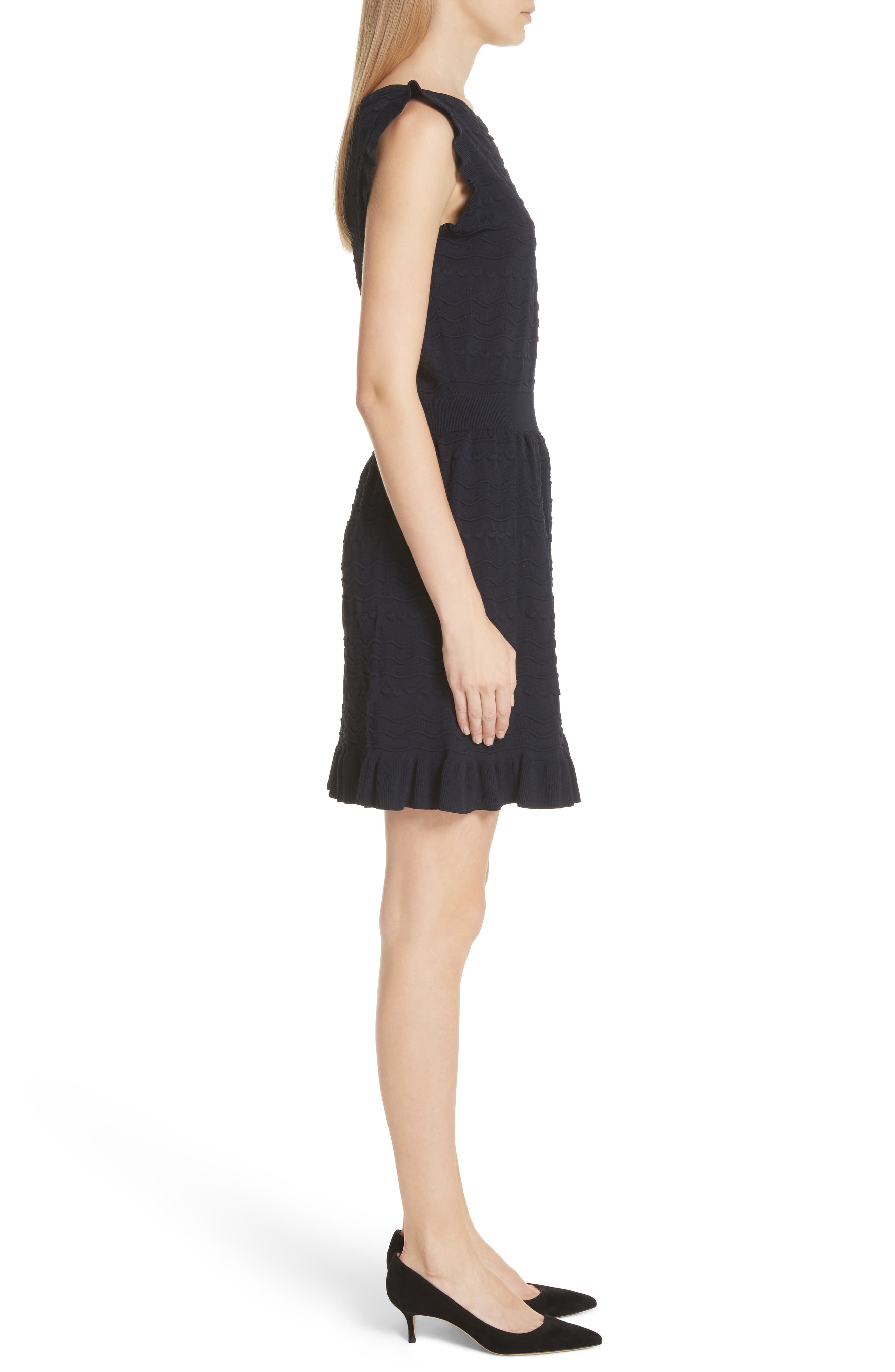 kate spade textured sweater dress,                             Alternate thumbnail 3, color,                             Rich Navy