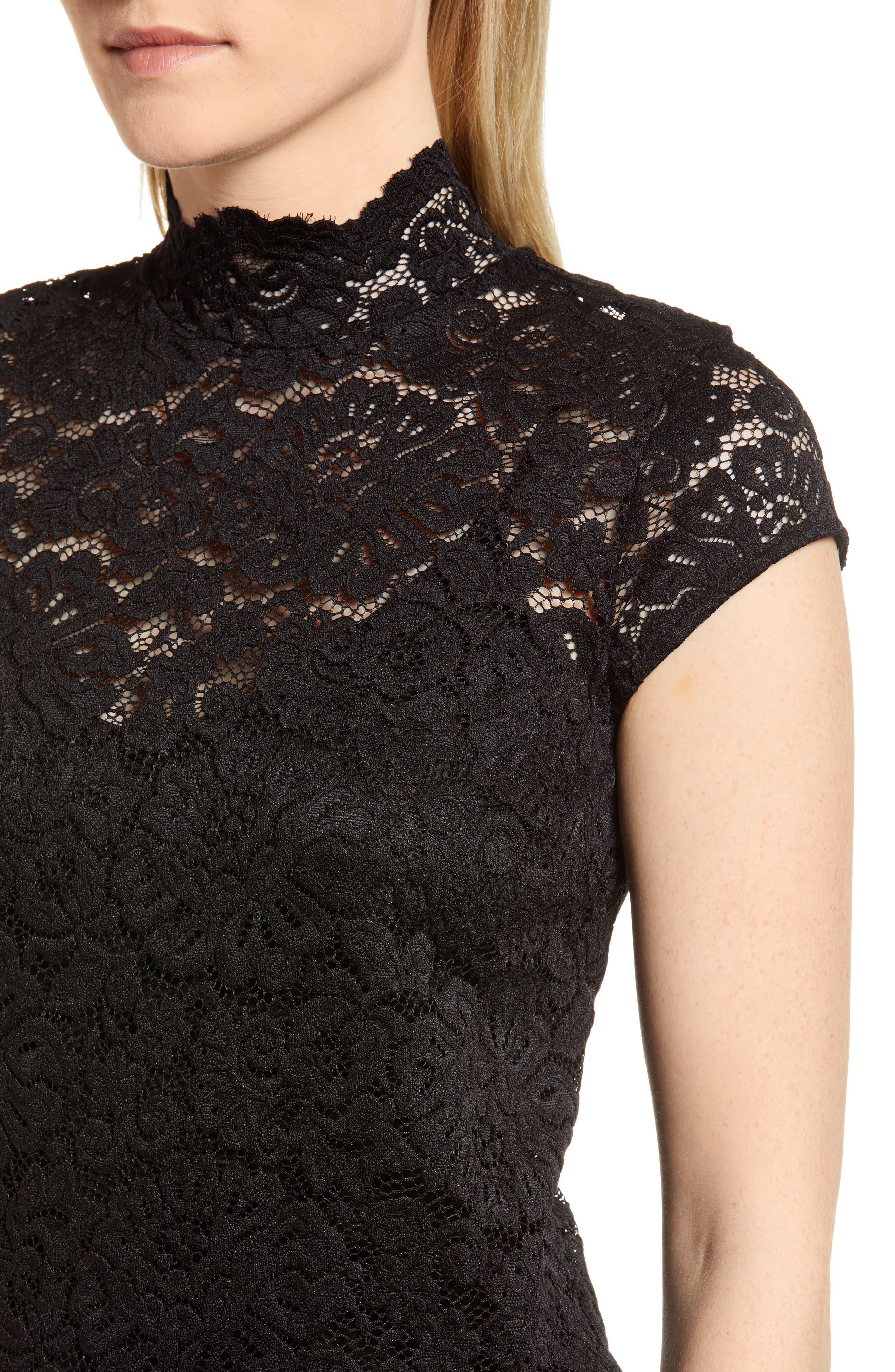 Filippa Lace Cap Sleeve Top,                             Alternate thumbnail 4, color,                             Black