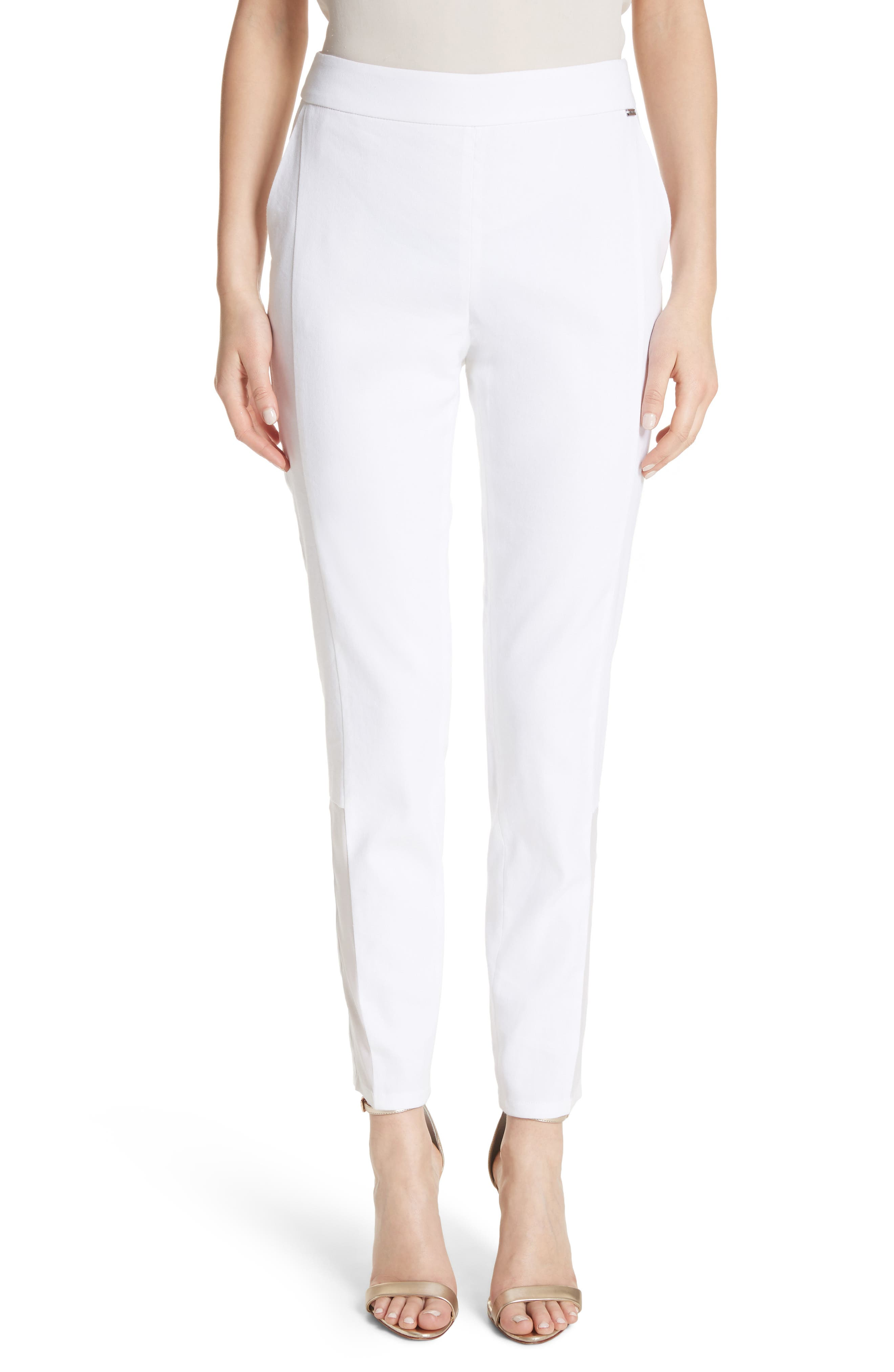 Sheer Inset Stretch Twill Pants,                             Main thumbnail 1, color,                             Bianco