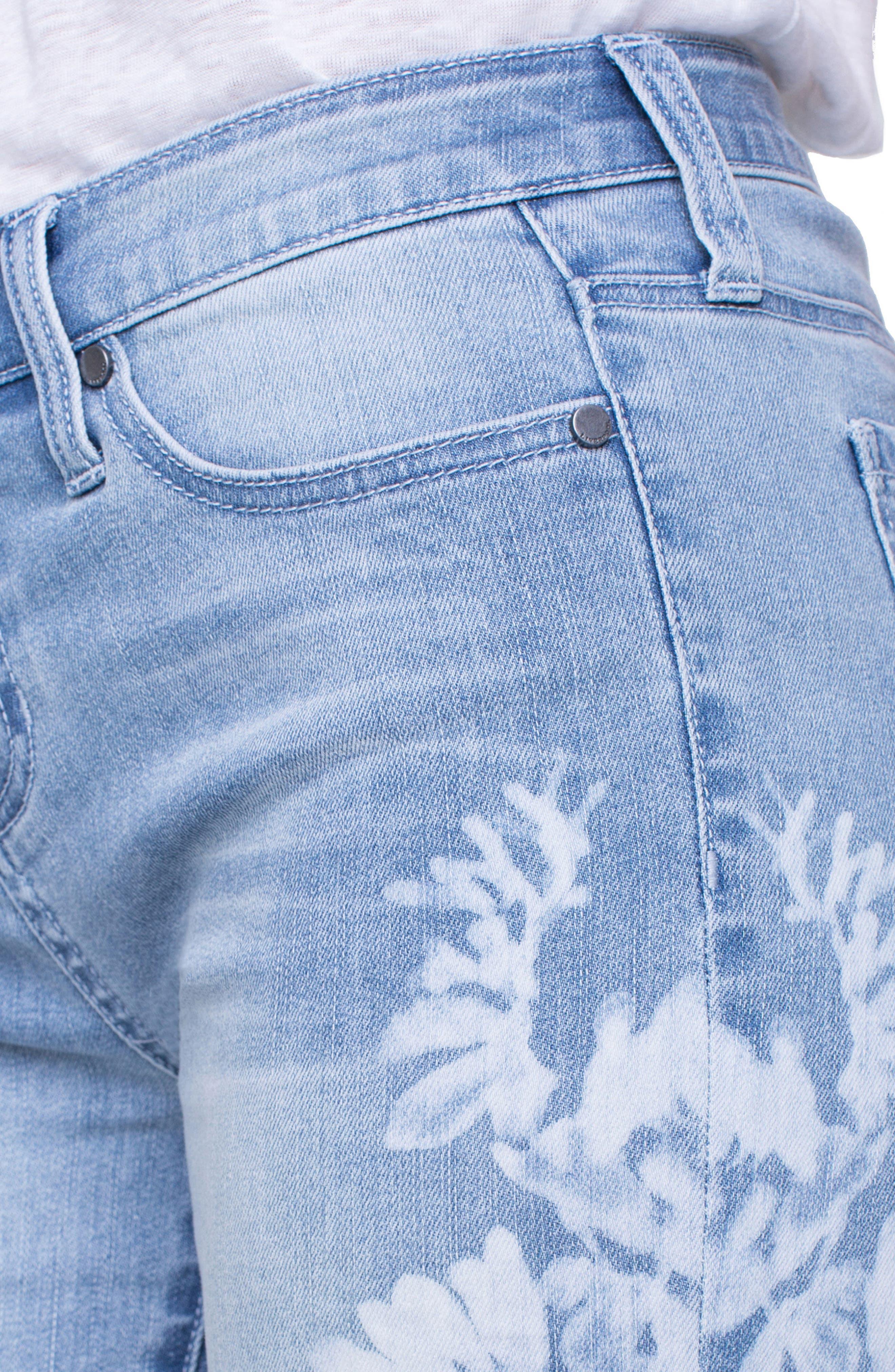 Corine Flower Frayed Denim Shorts,                             Alternate thumbnail 4, color,                             Mandalay Light
