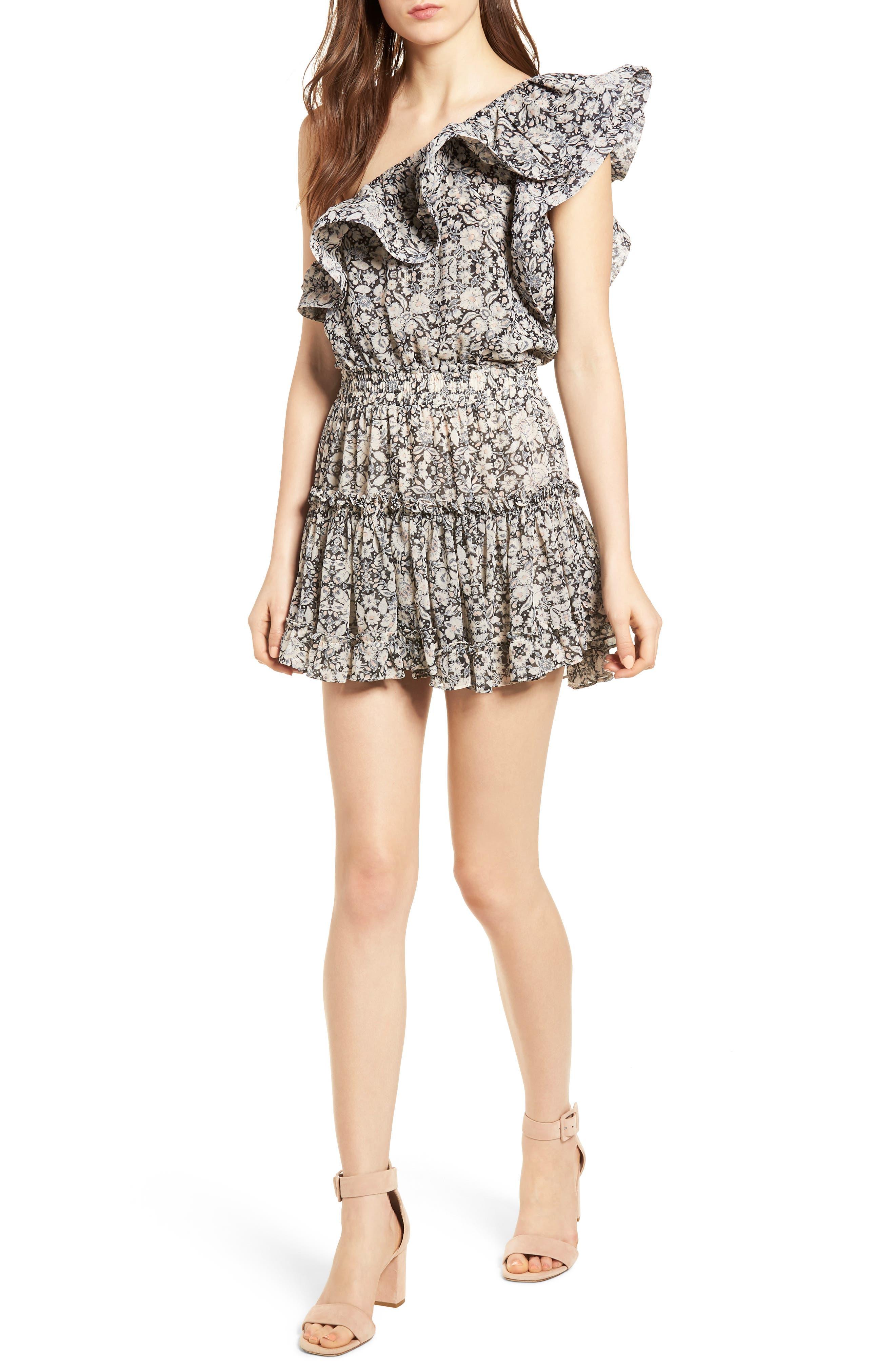 Josefine Ruffle One-Shoulder Dress,                         Main,                         color, Multi Fe8