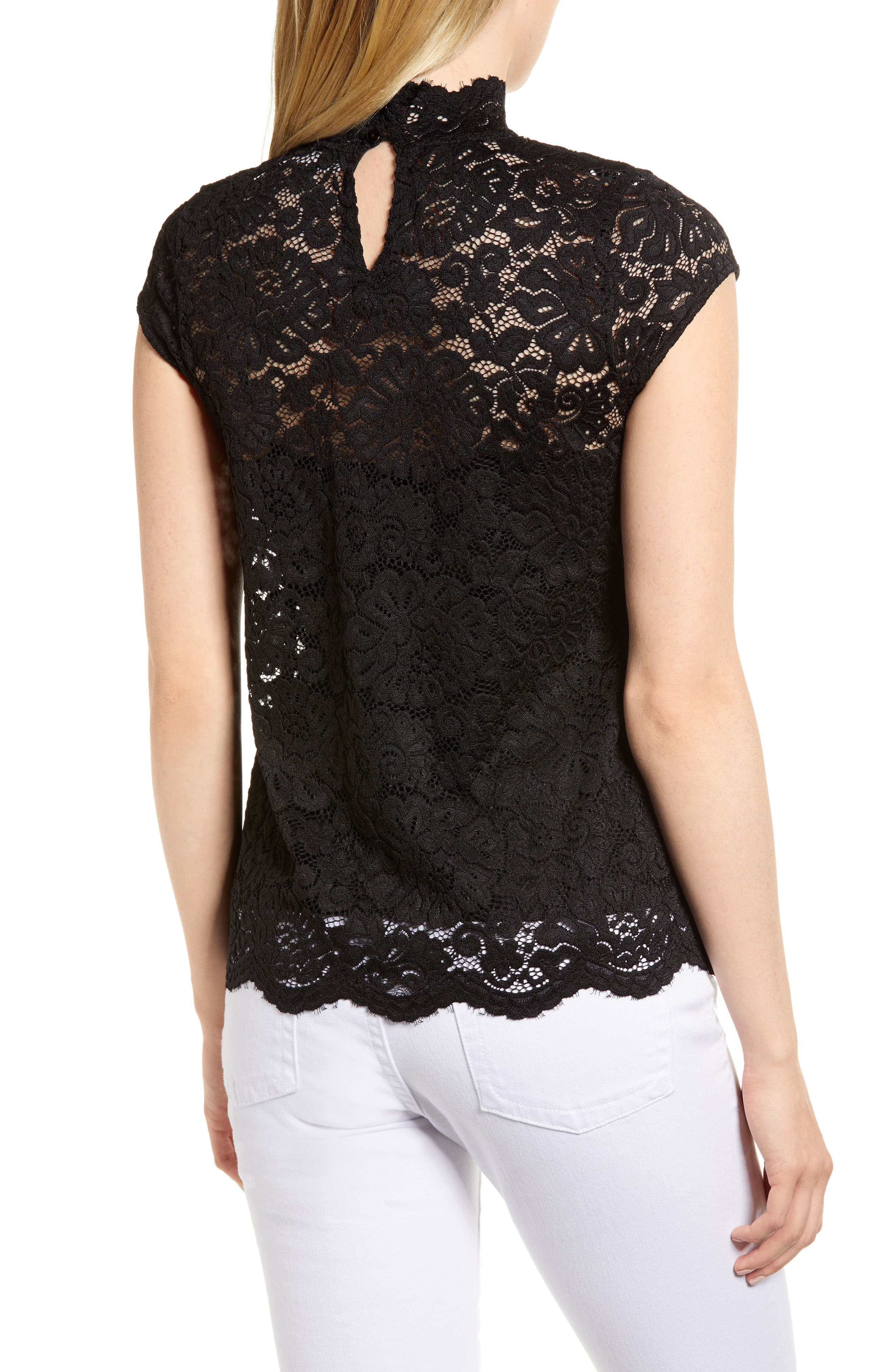 Filippa Lace Cap Sleeve Top,                             Alternate thumbnail 2, color,                             Black
