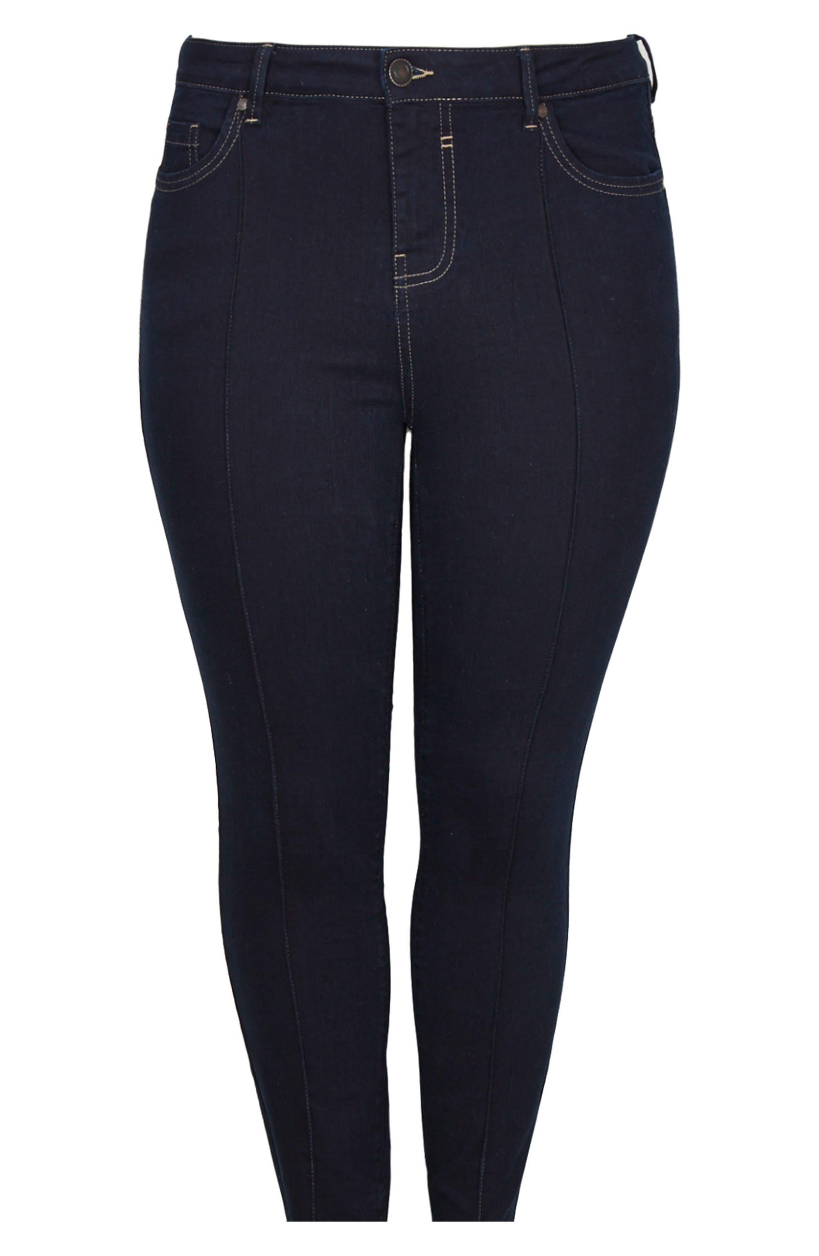 Pintuck High Waist Skinny Jeans,                             Alternate thumbnail 5, color,                             Indigo