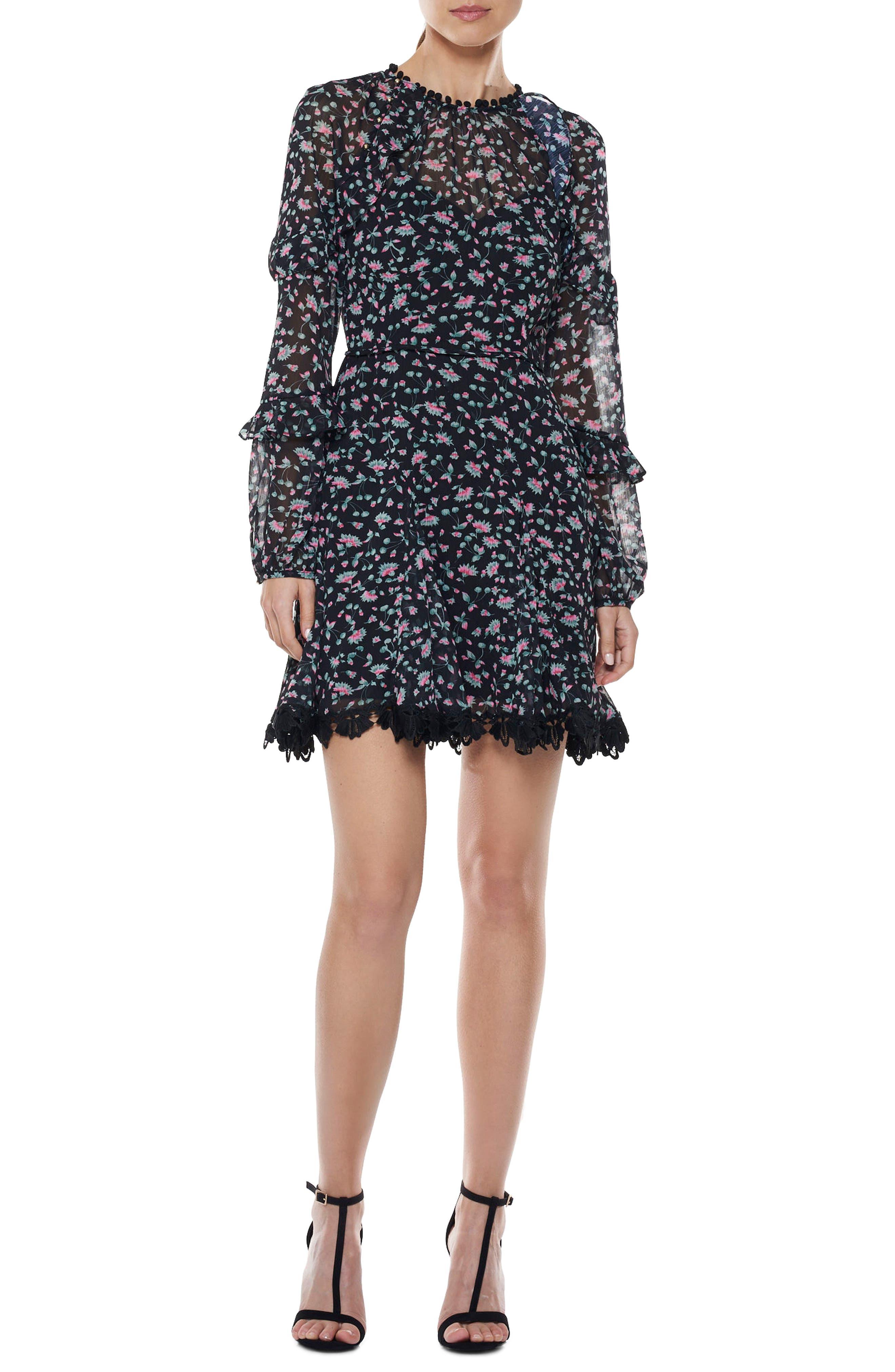 Unwavering Glamour Ruffle Minidress,                             Main thumbnail 1, color,                             Print