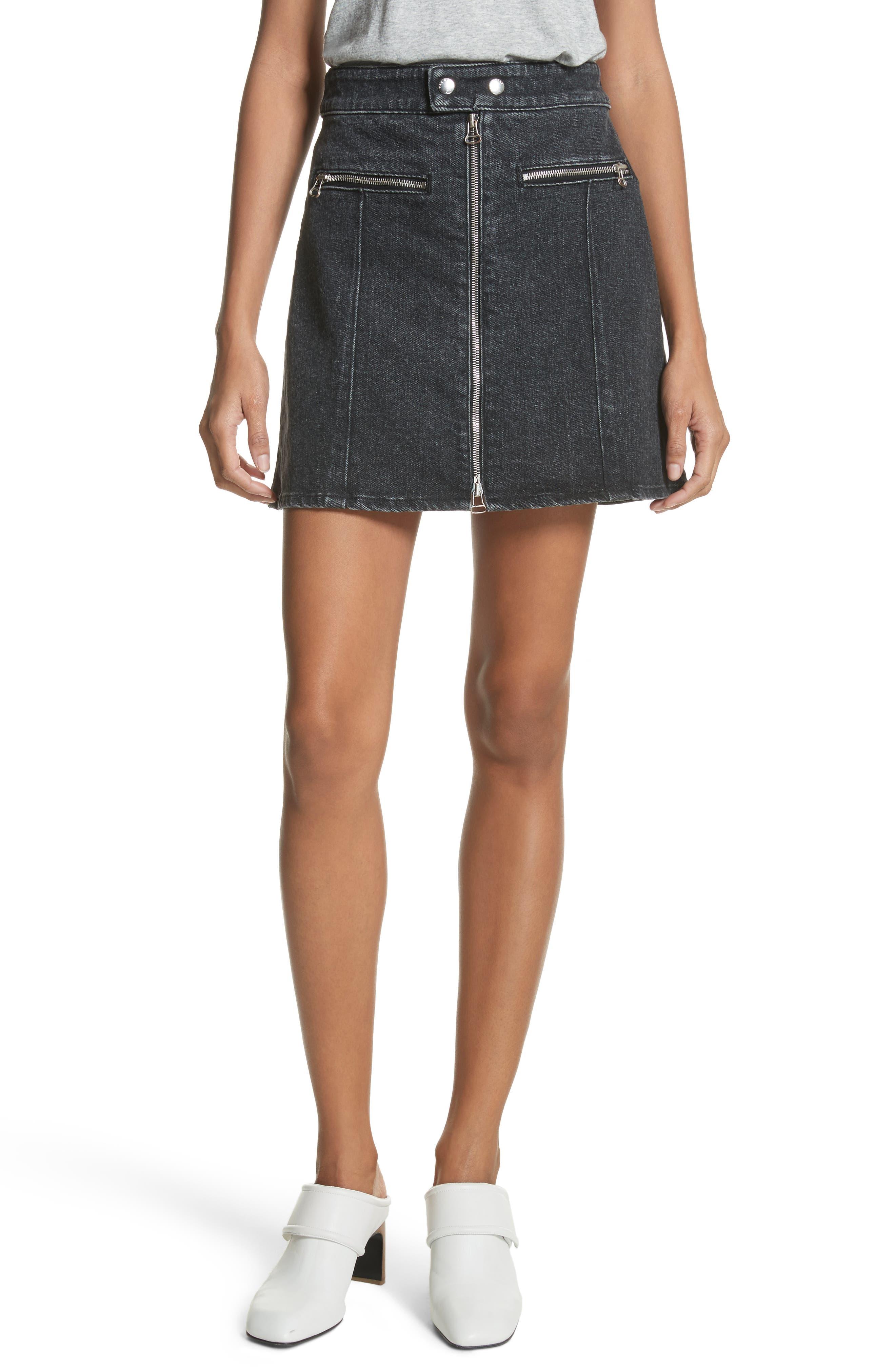 rag & bone/JEAN Isabel Zip Denim Skirt