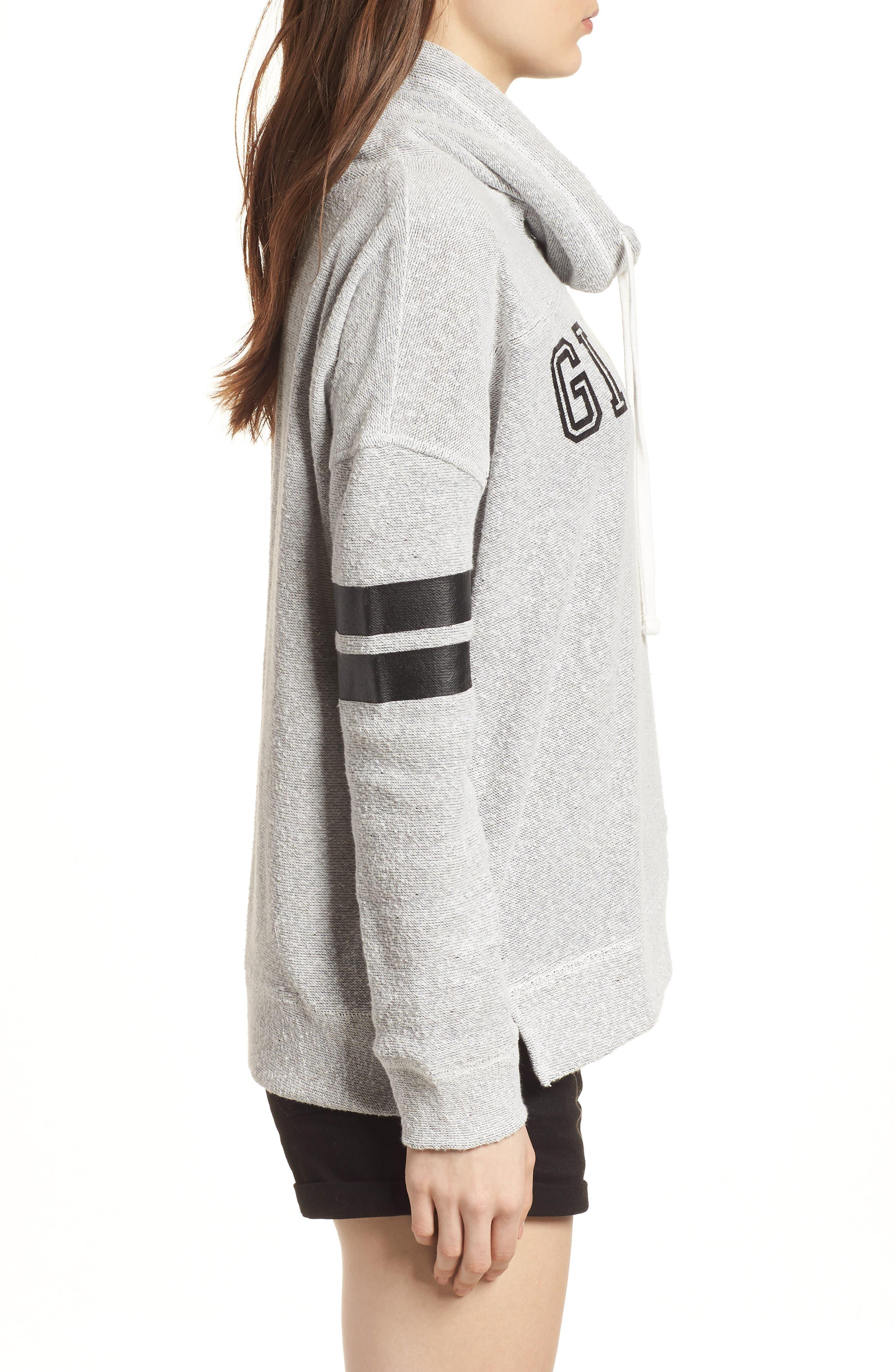 Offsides San Francisco Giants Funnel Neck Sweatshirt,                             Alternate thumbnail 3, color,                             Pumice Grey