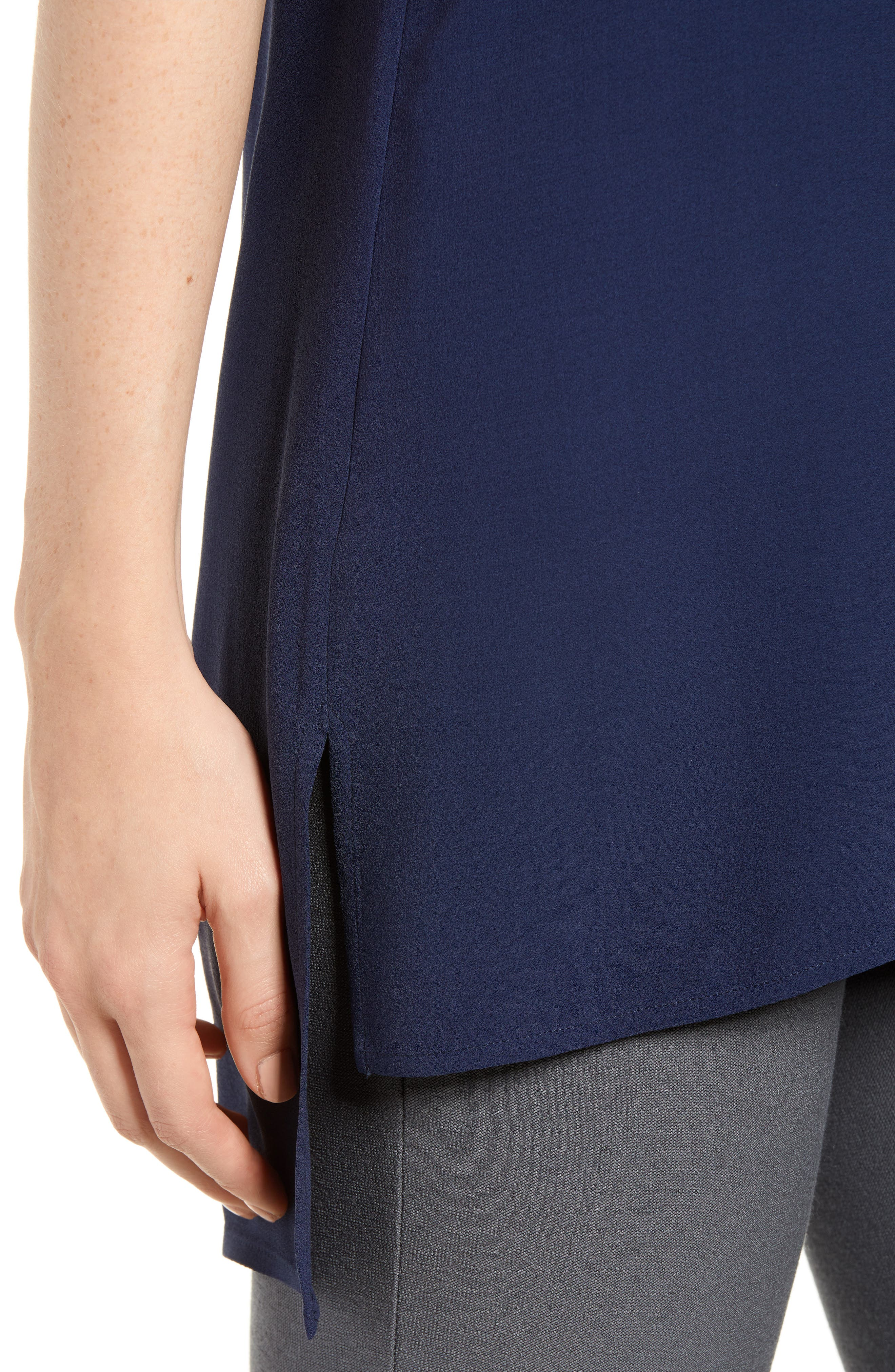 Alternate Image 4  - Eileen Fisher Silk Crepe Bateau Neck Shell (Regular & Petite)