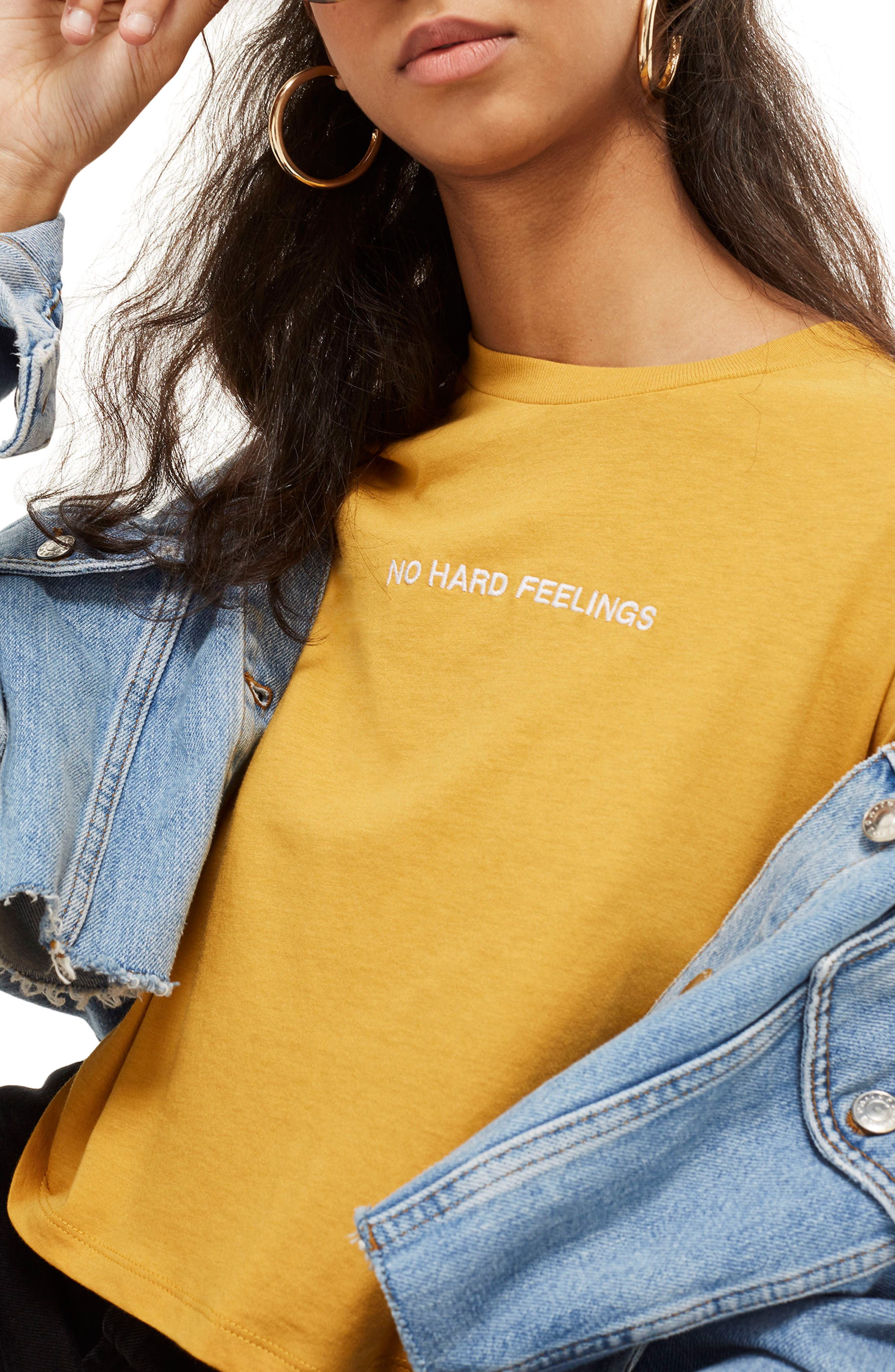 No Hard Feelings Crop T-Shirt,                             Main thumbnail 1, color,                             Mustard
