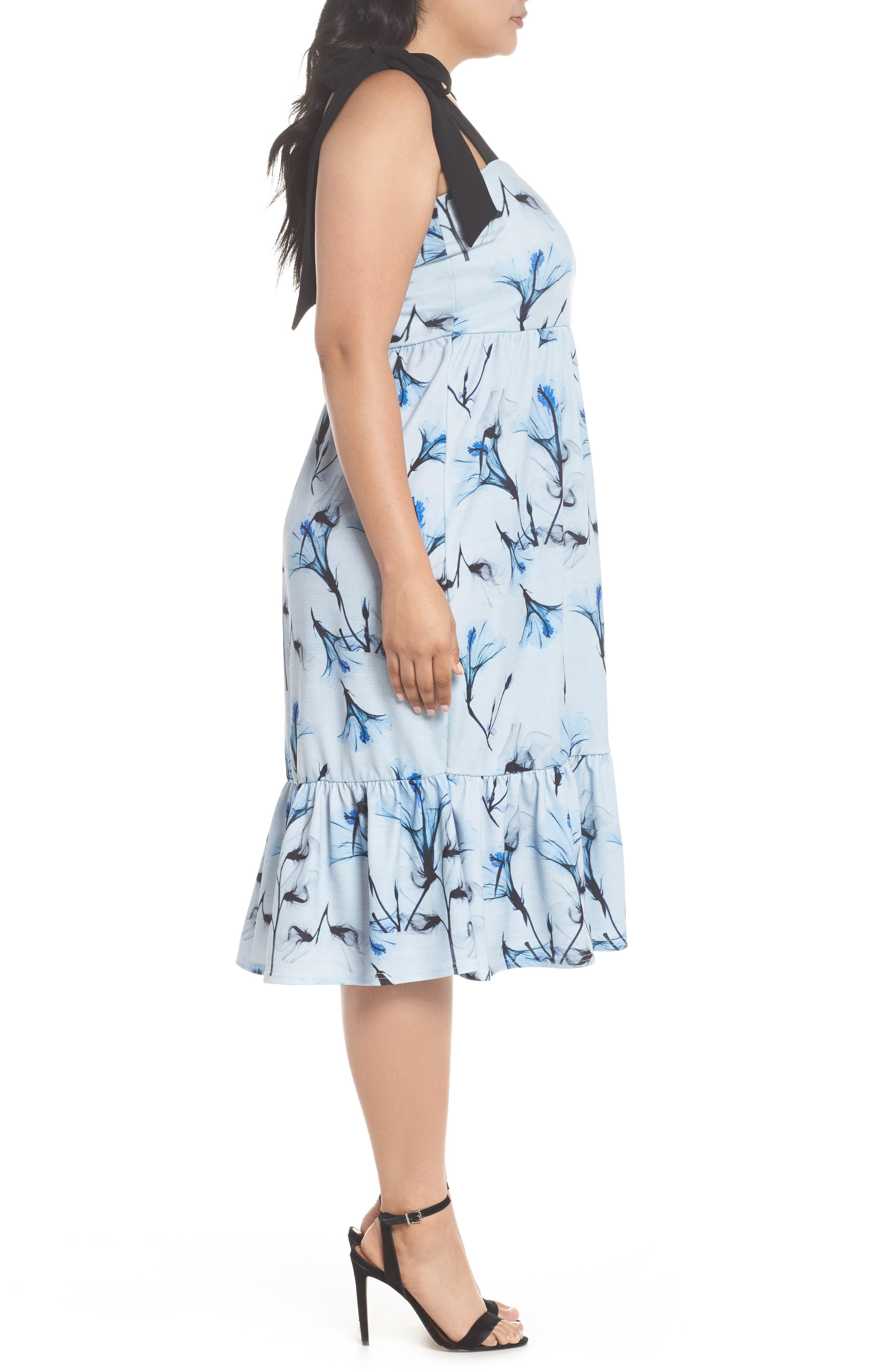 Tie Shoulder A-Line Dress,                             Alternate thumbnail 4, color,                             Multi