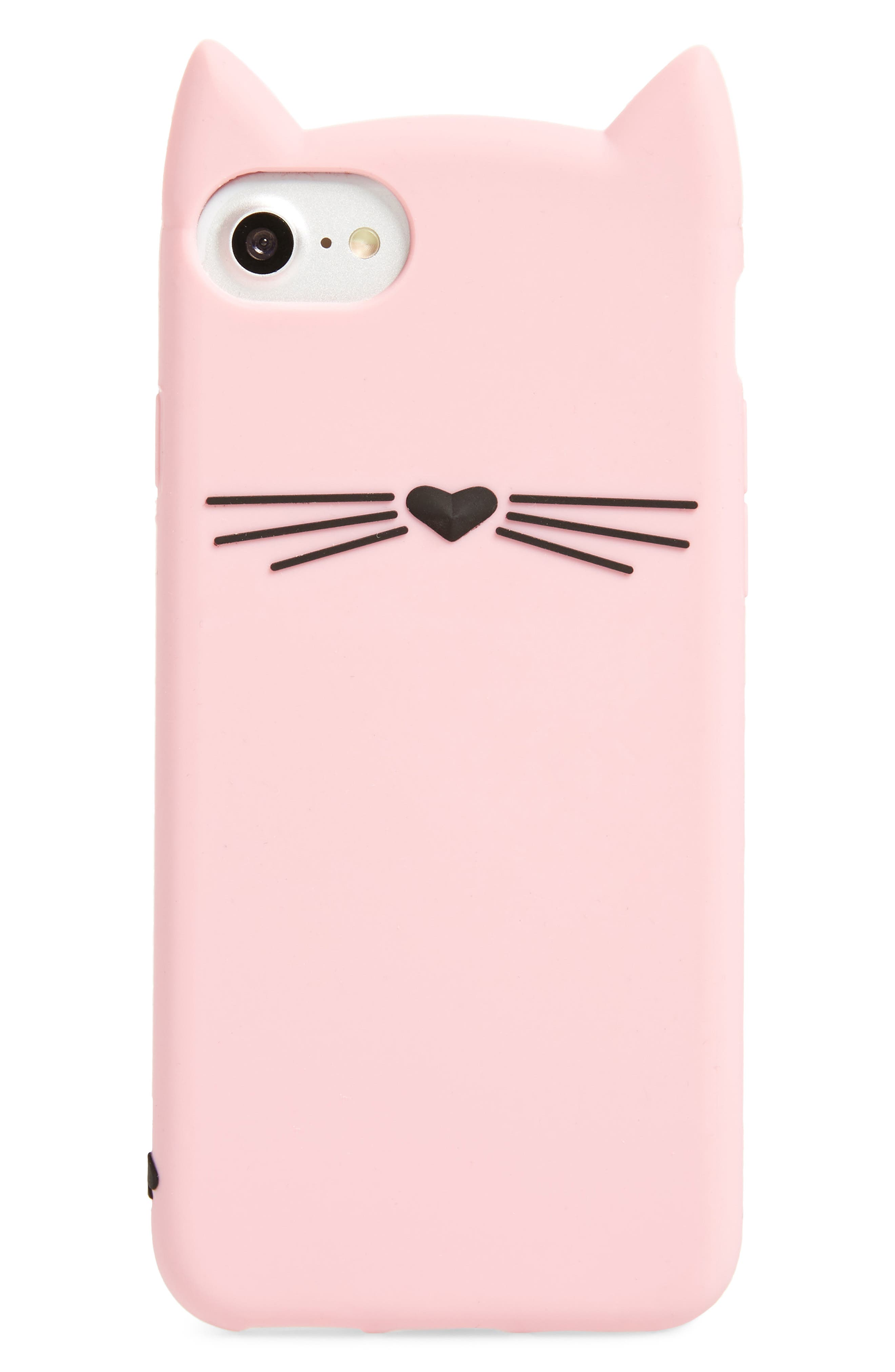 cat silicone iPhone 7/8 case,                             Main thumbnail 1, color,                             Pink Multi