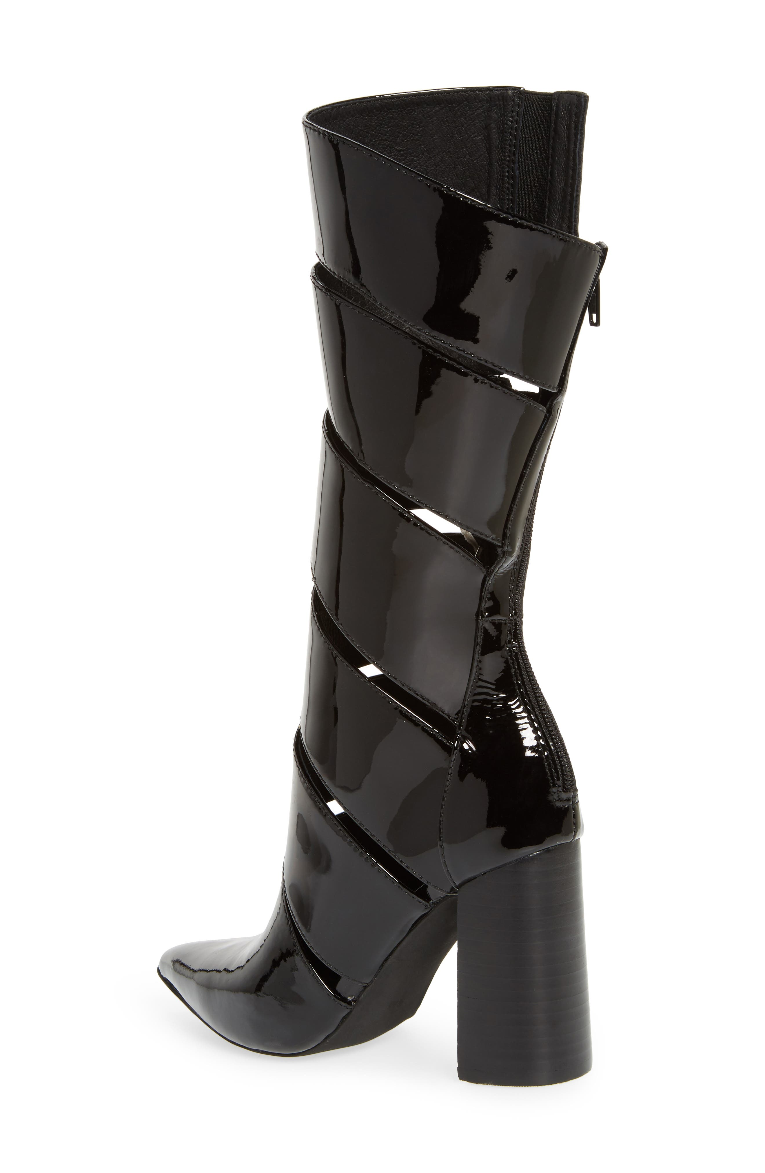 Stunt Pointy Toe Boot,                             Alternate thumbnail 2, color,                             Black Patent Leather