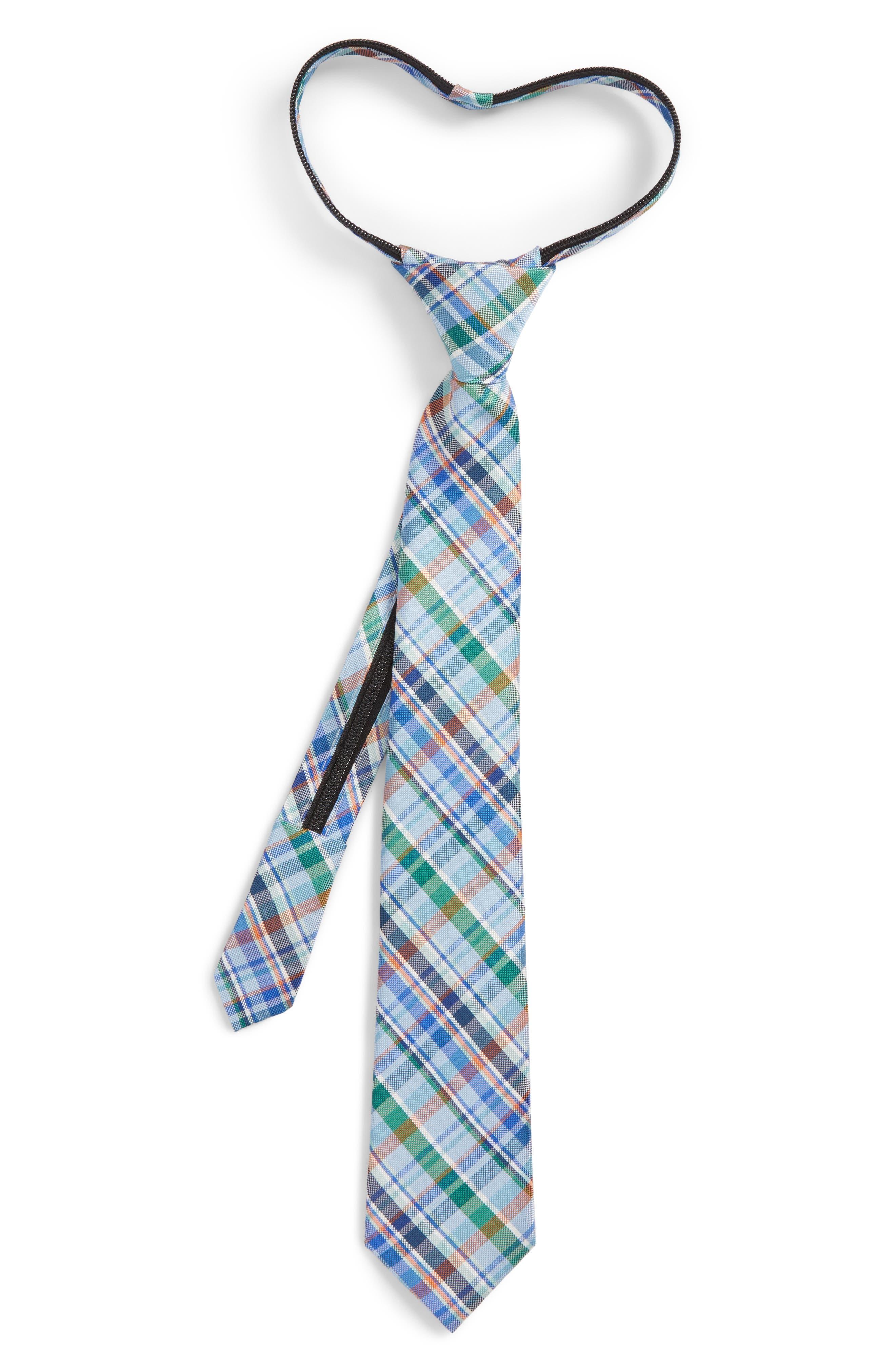 Campbell Plaid Silk Zip Tie,                         Main,                         color, Navy