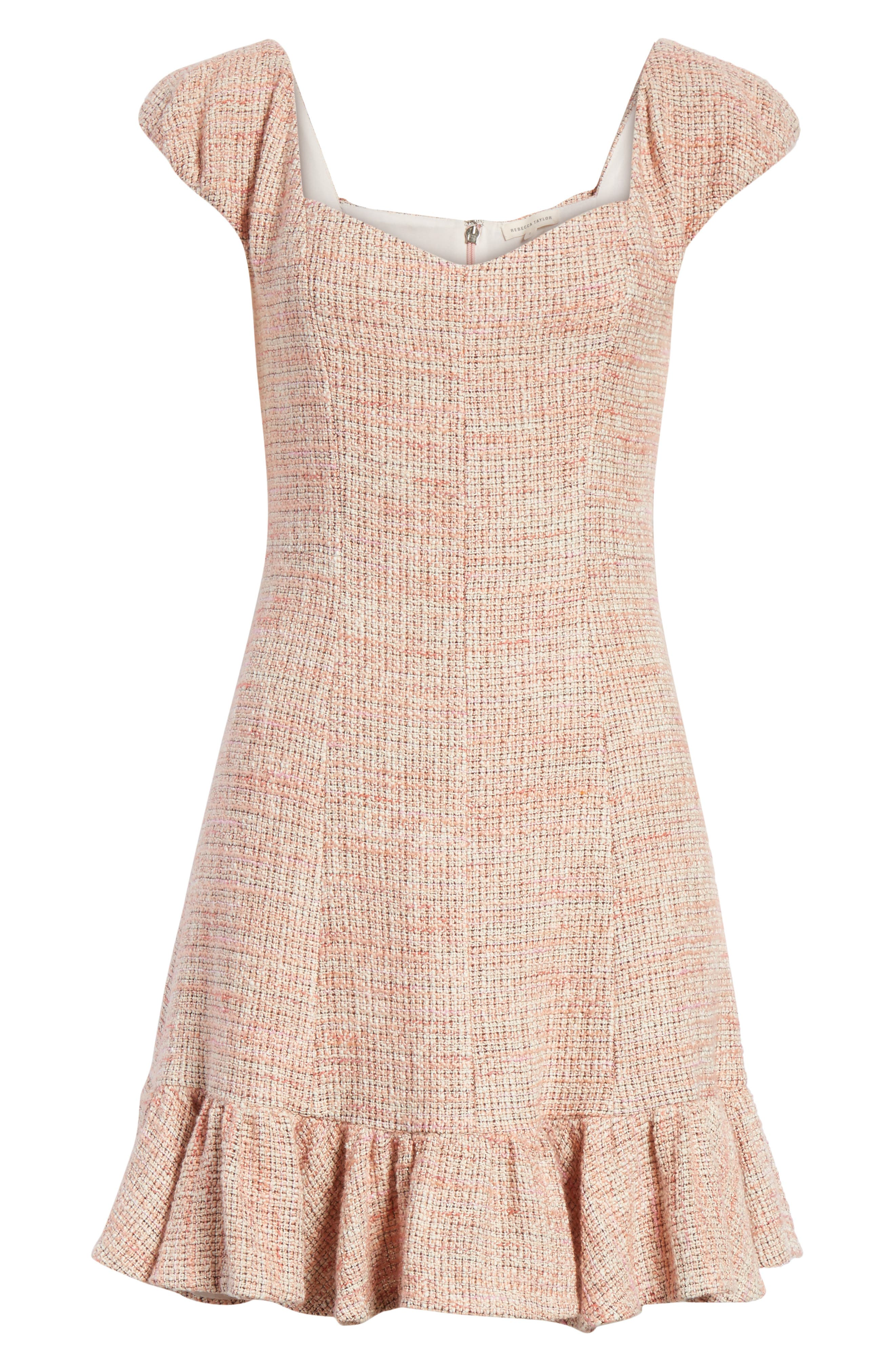 Cap Sleeve Tweed Dress,                             Alternate thumbnail 6, color,                             Rosy Nude Combo
