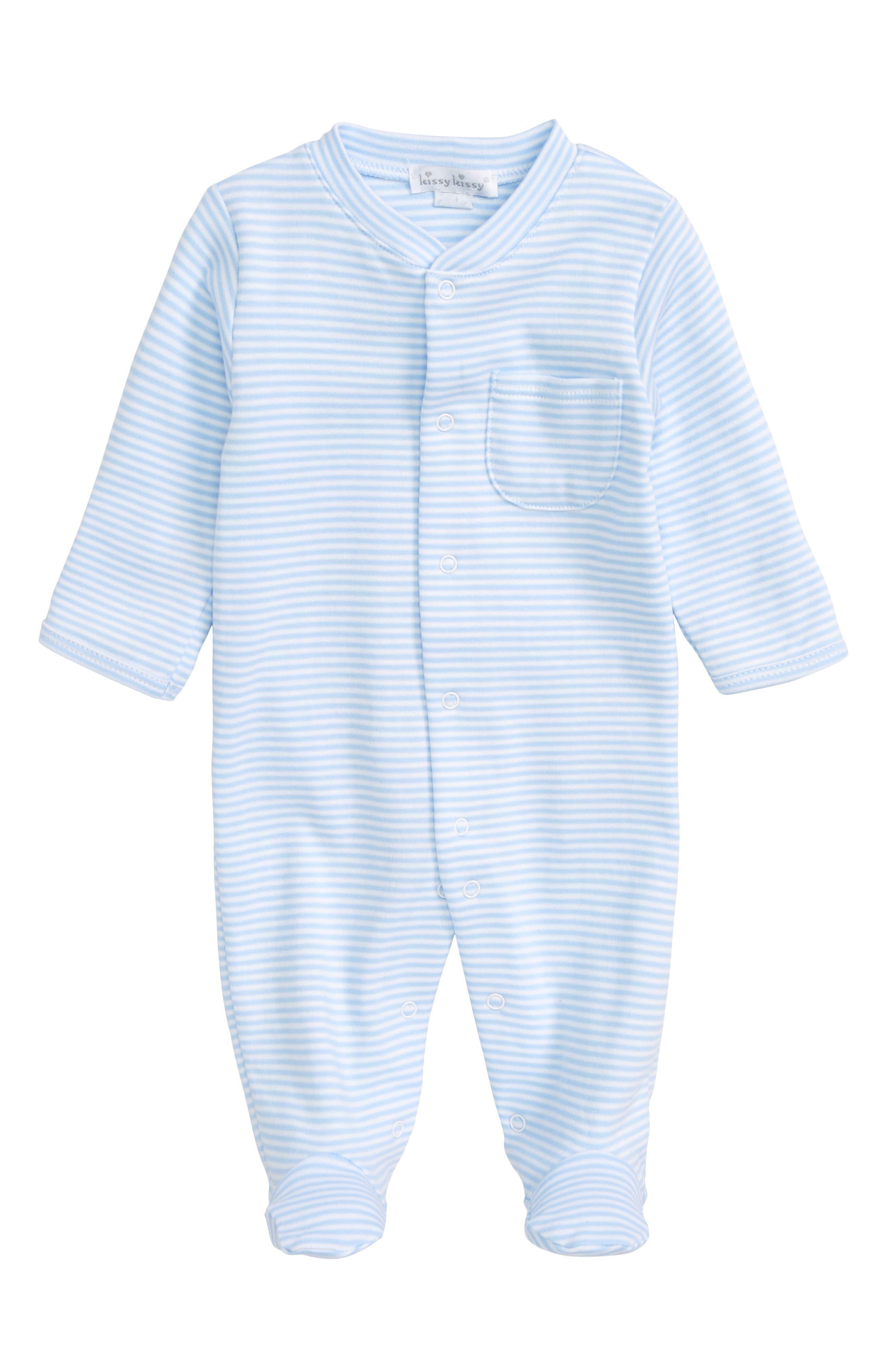 Stripe Pima Cotton Footie,                             Main thumbnail 1, color,                             Light Blue