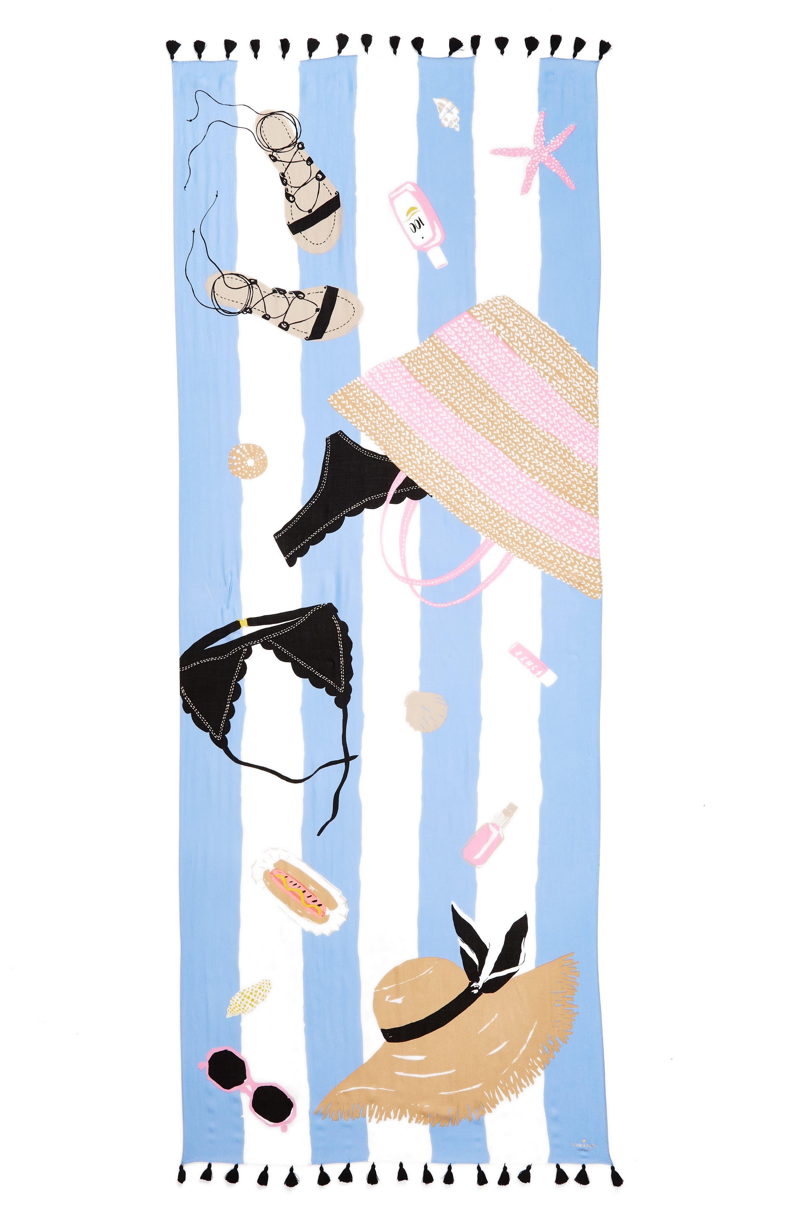 beach towel scarf,                             Alternate thumbnail 2, color,                             Cream