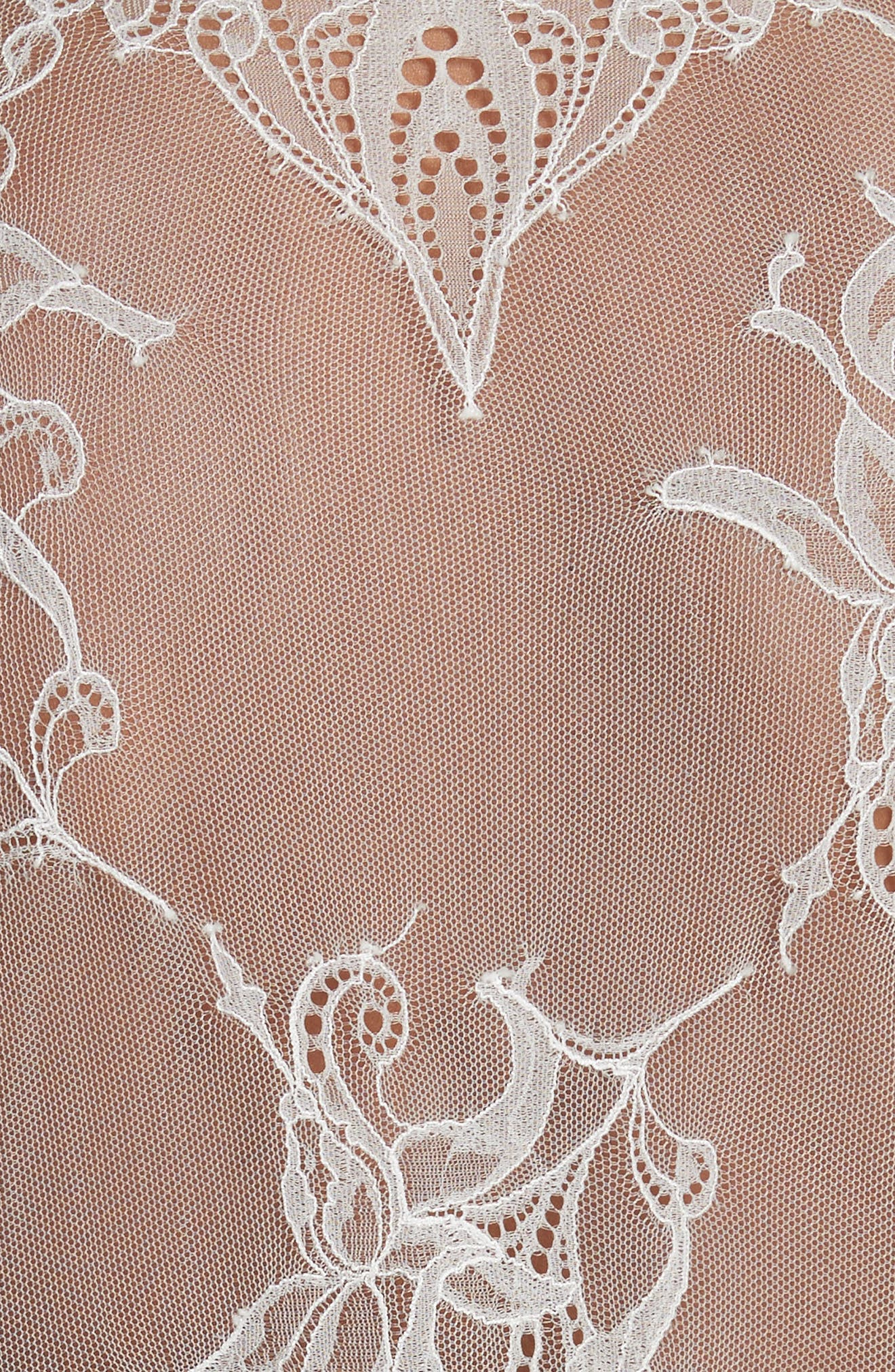 Clotilde Lace Trim Silk Dress with Scarf,                             Alternate thumbnail 5, color,                             Ivory