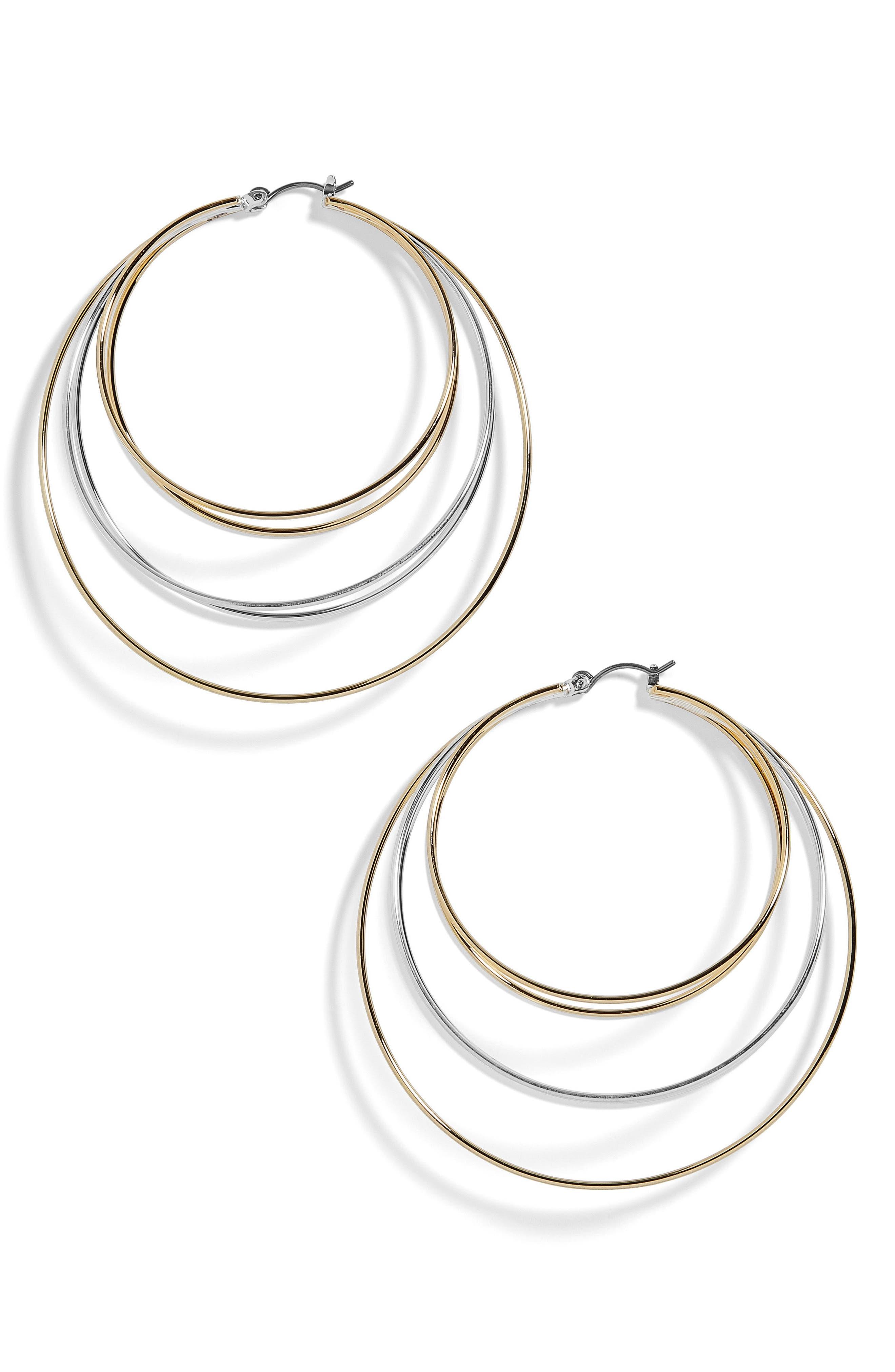 Rielle Mixed Metal Hoop Earrings,                             Main thumbnail 1, color,                             Silver/ Gold