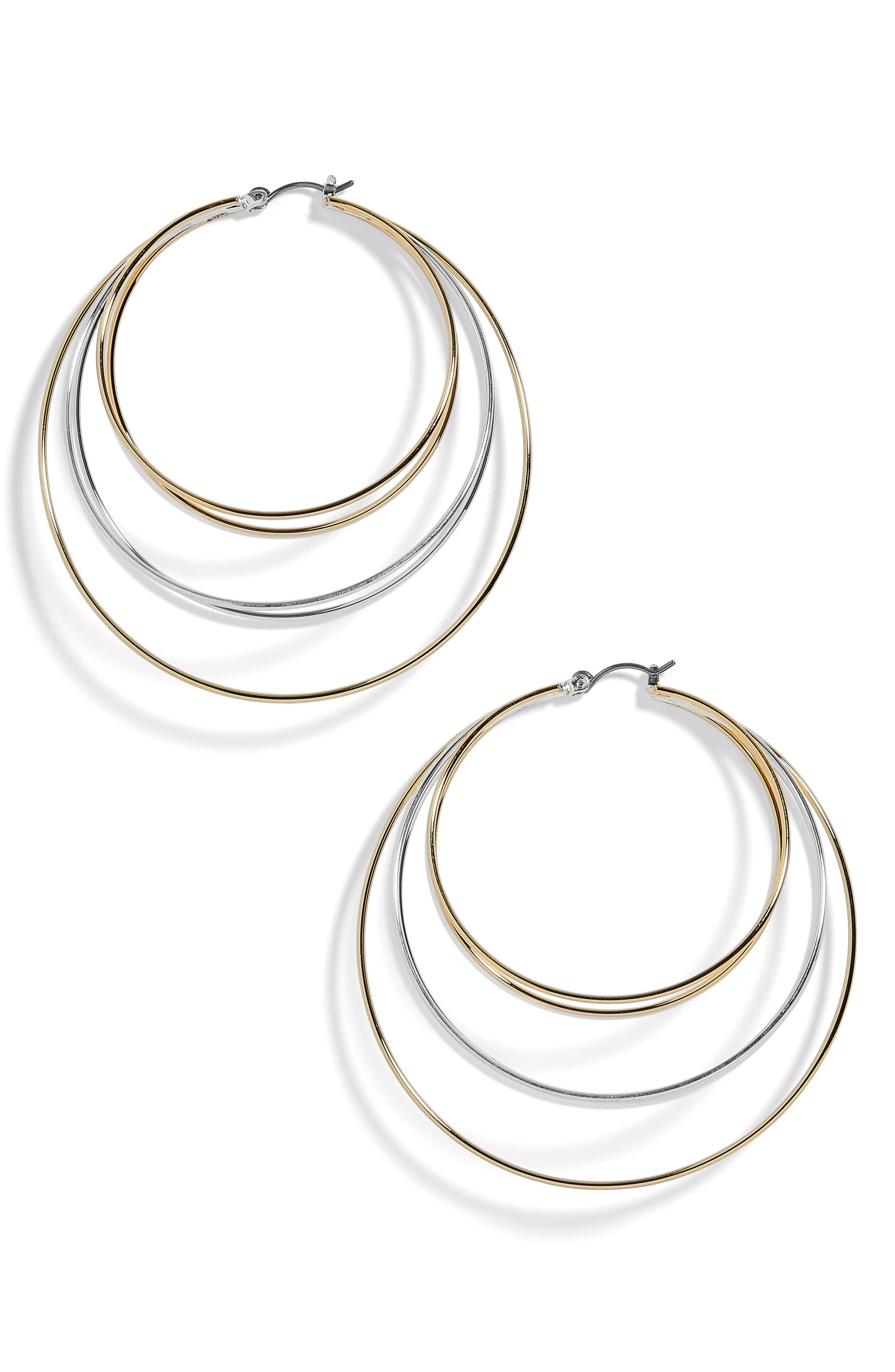 Rielle Mixed Metal Hoop Earrings,                         Main,                         color, Silver/ Gold