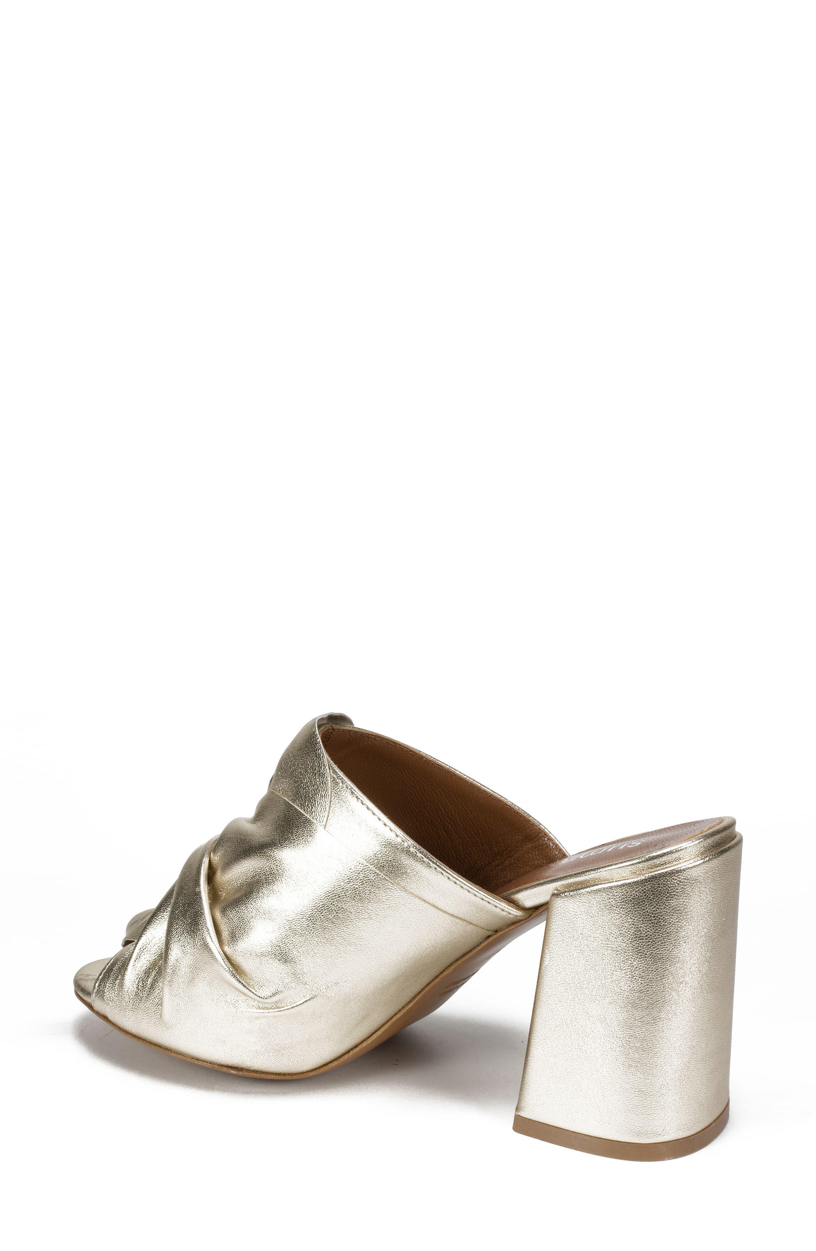 Anya Block Heel Mule,                             Alternate thumbnail 2, color,                             Platinum Leather