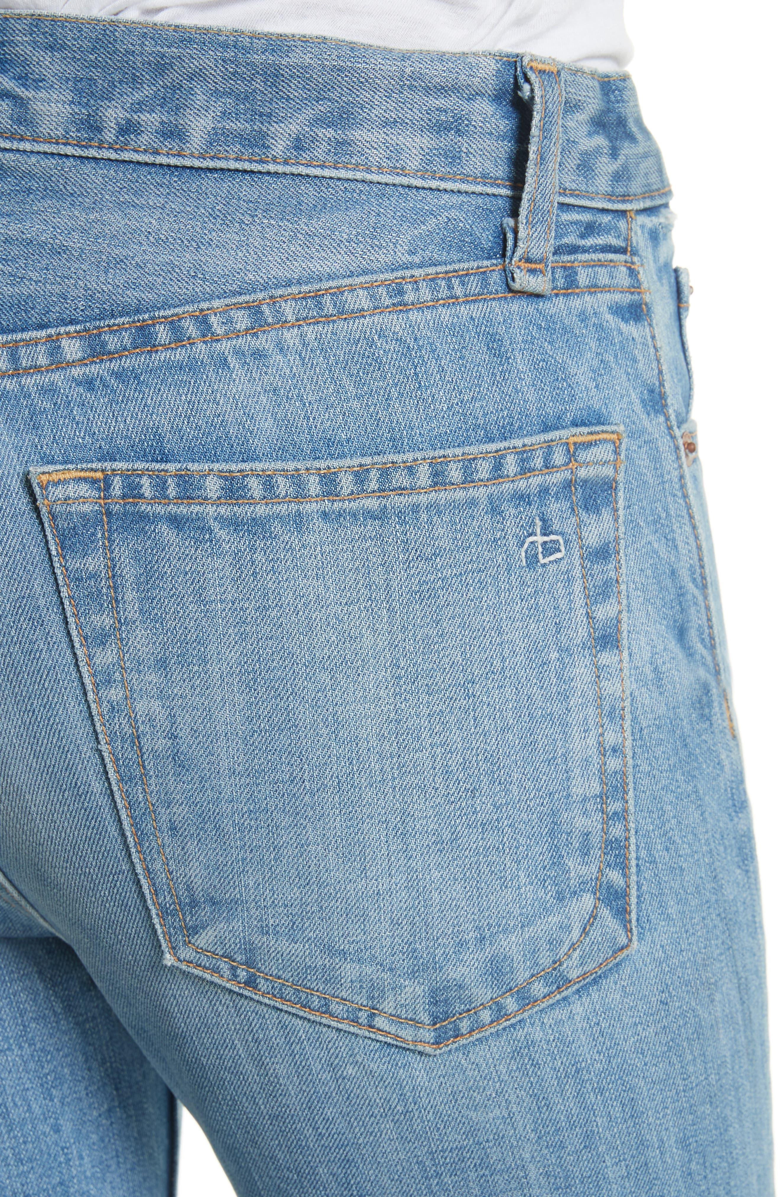 High Waist Ankle Skinny Jeans,                             Alternate thumbnail 4, color,                             Helena