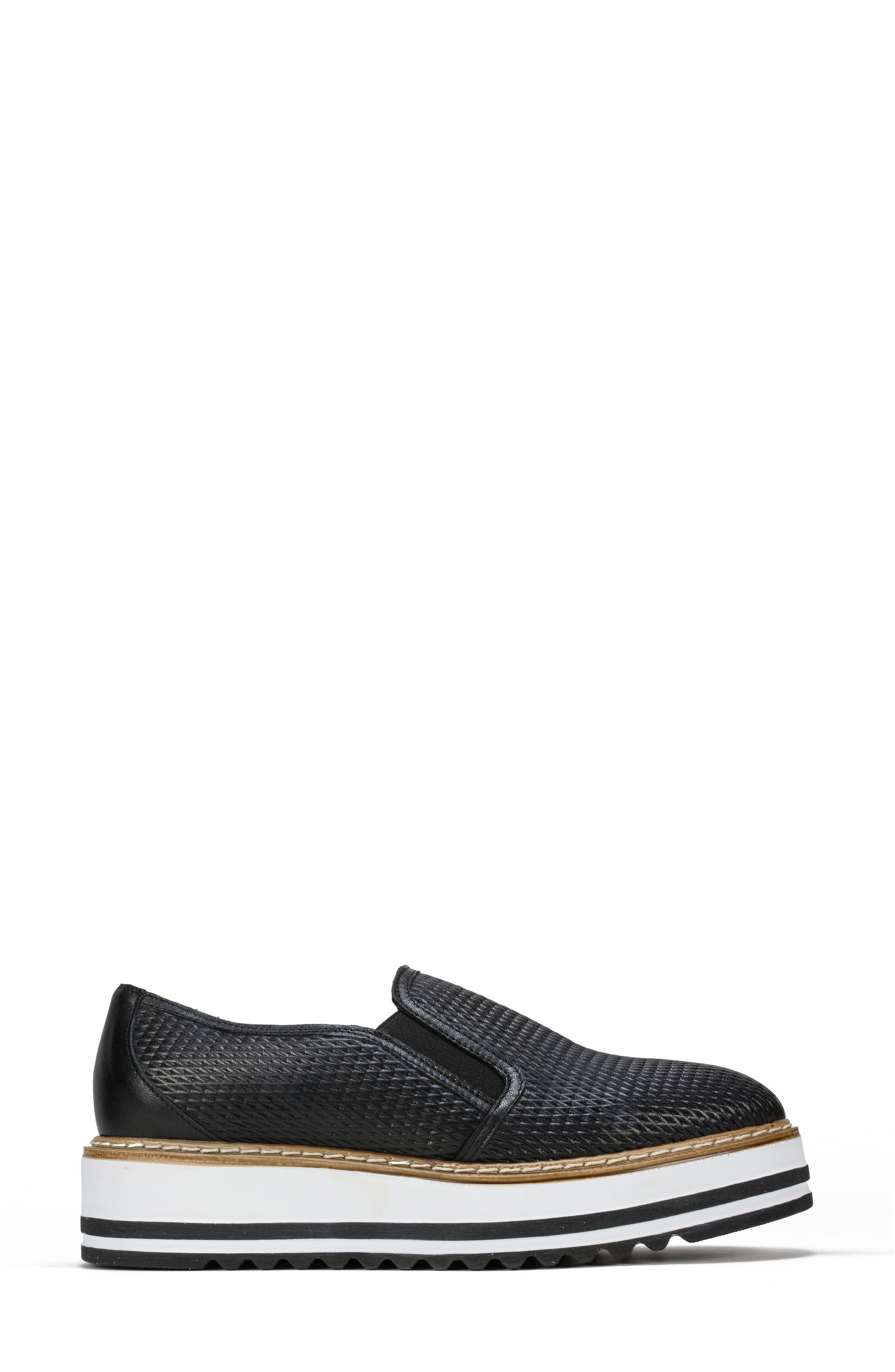 Belton Platform Slip-On,                             Alternate thumbnail 3, color,                             Black Textured Leather