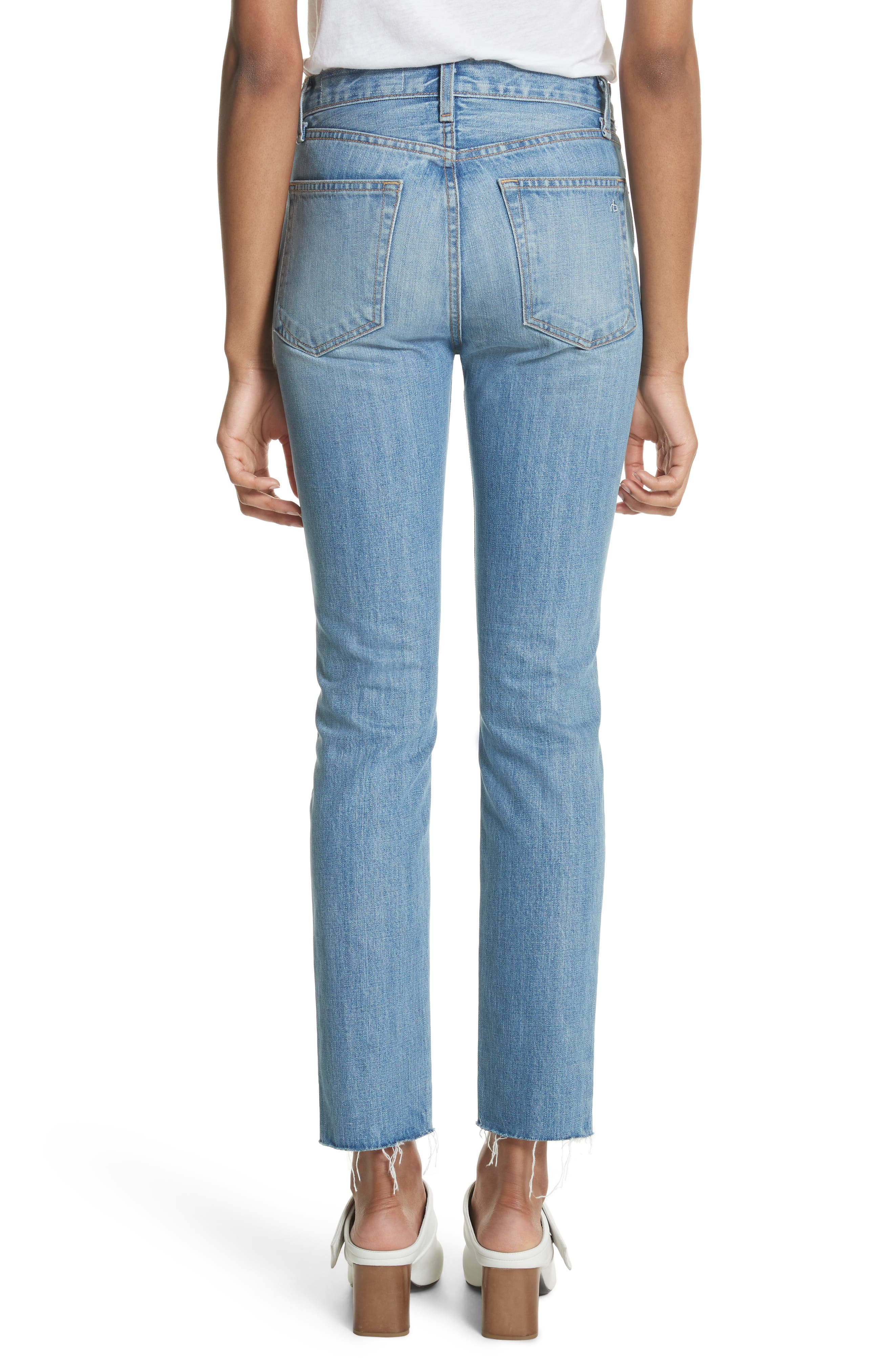 High Waist Ankle Skinny Jeans,                             Alternate thumbnail 2, color,                             Helena