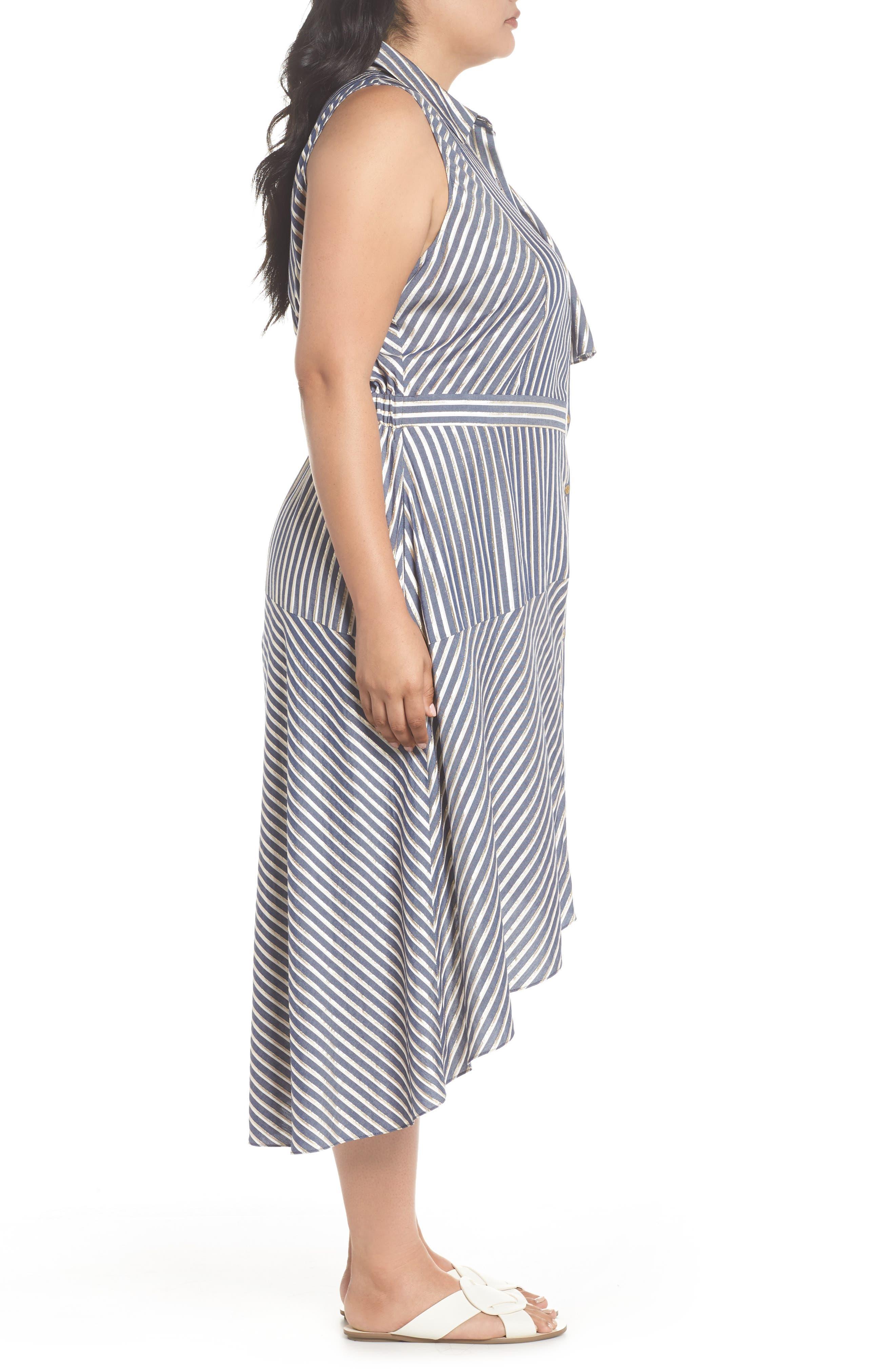 Stripe Asymmetrical Ruffle Shirtdress,                             Alternate thumbnail 4, color,                             True Navy Combo