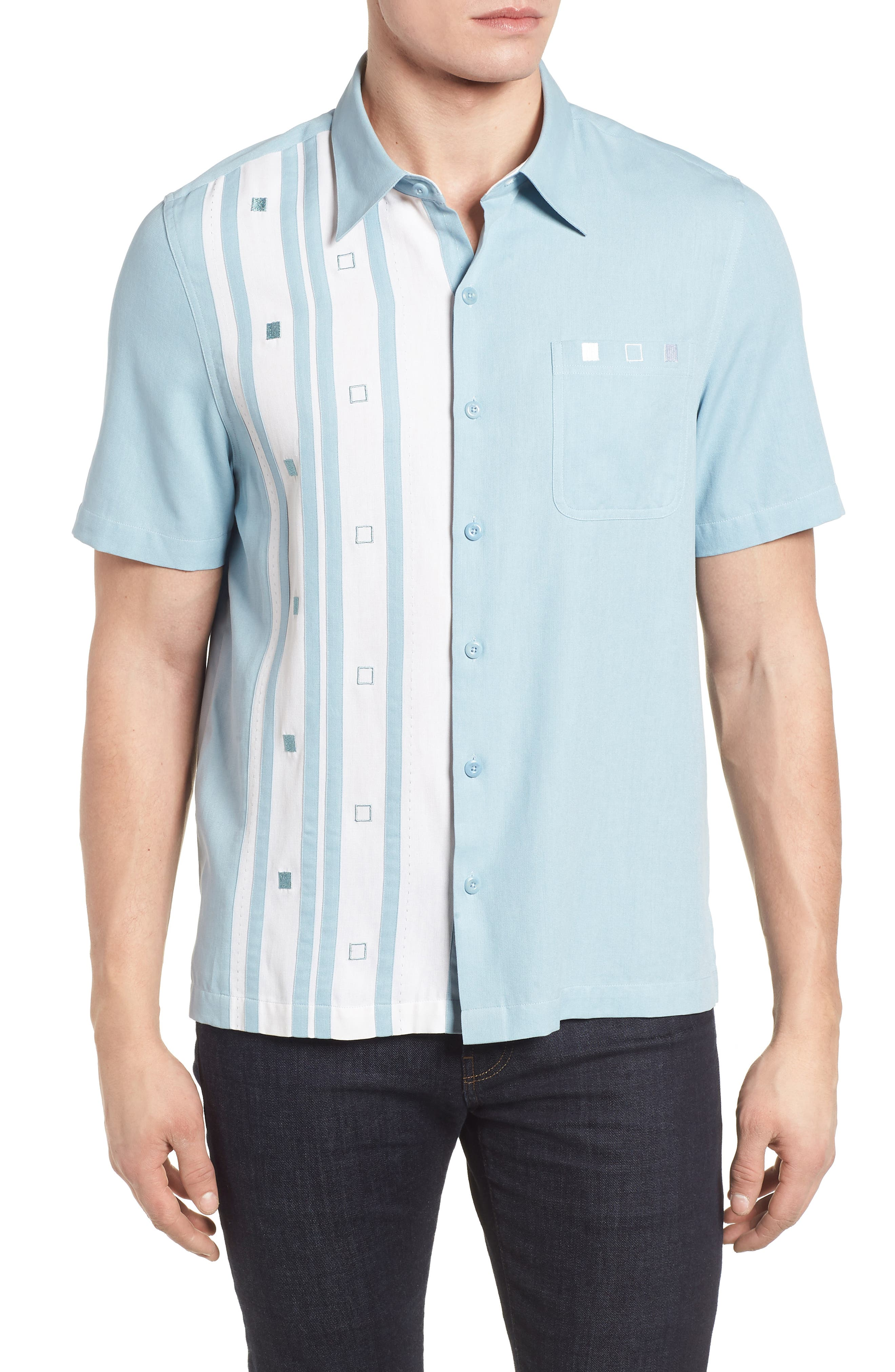 Retromod Camp Shirt,                         Main,                         color, Niagra Blue
