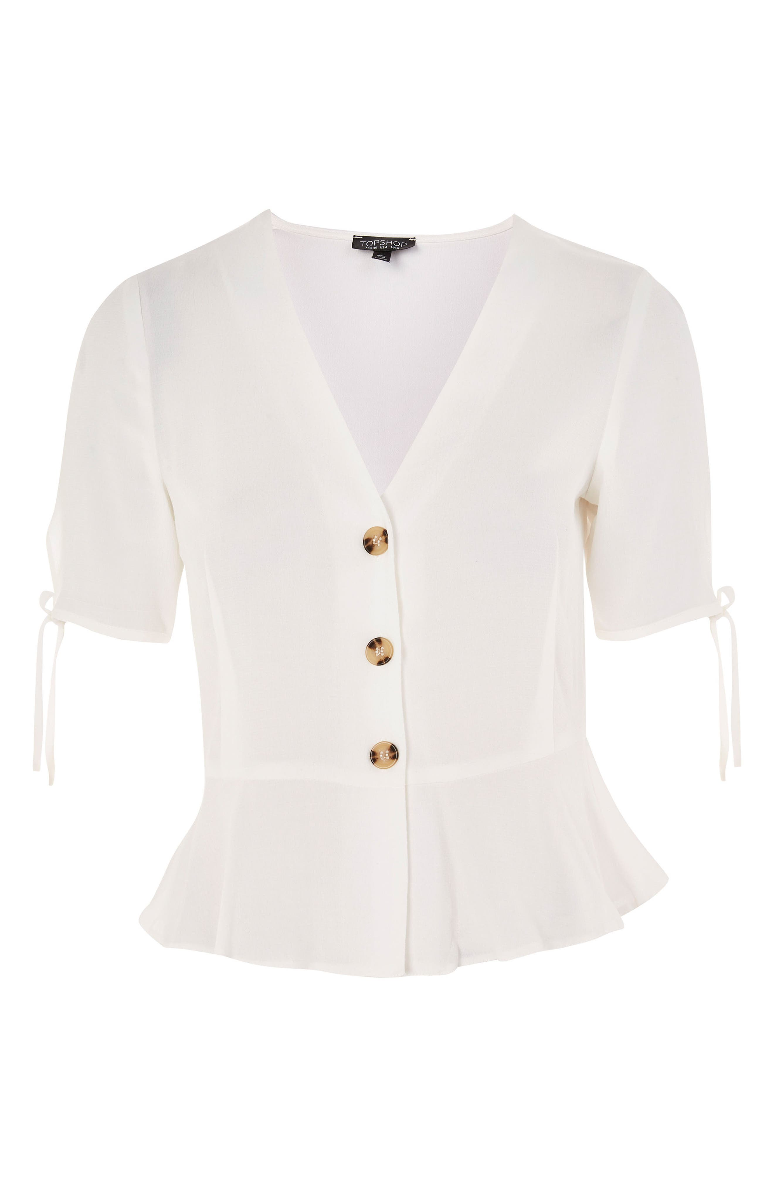 Bryony Tea Button Front Blouse,                             Alternate thumbnail 3, color,                             Ivory