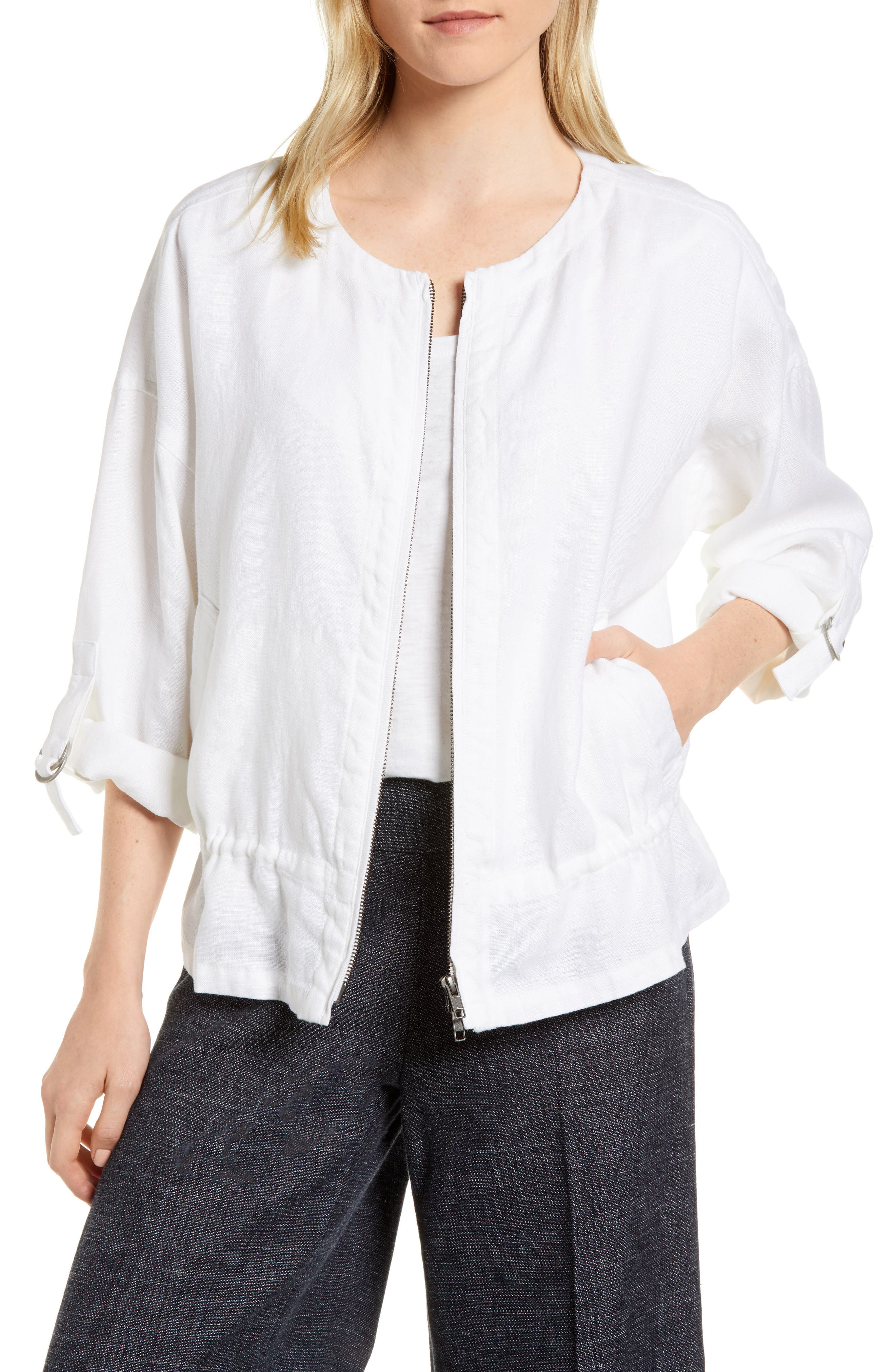 Drawstring Organic Linen Jacket,                             Main thumbnail 1, color,                             White