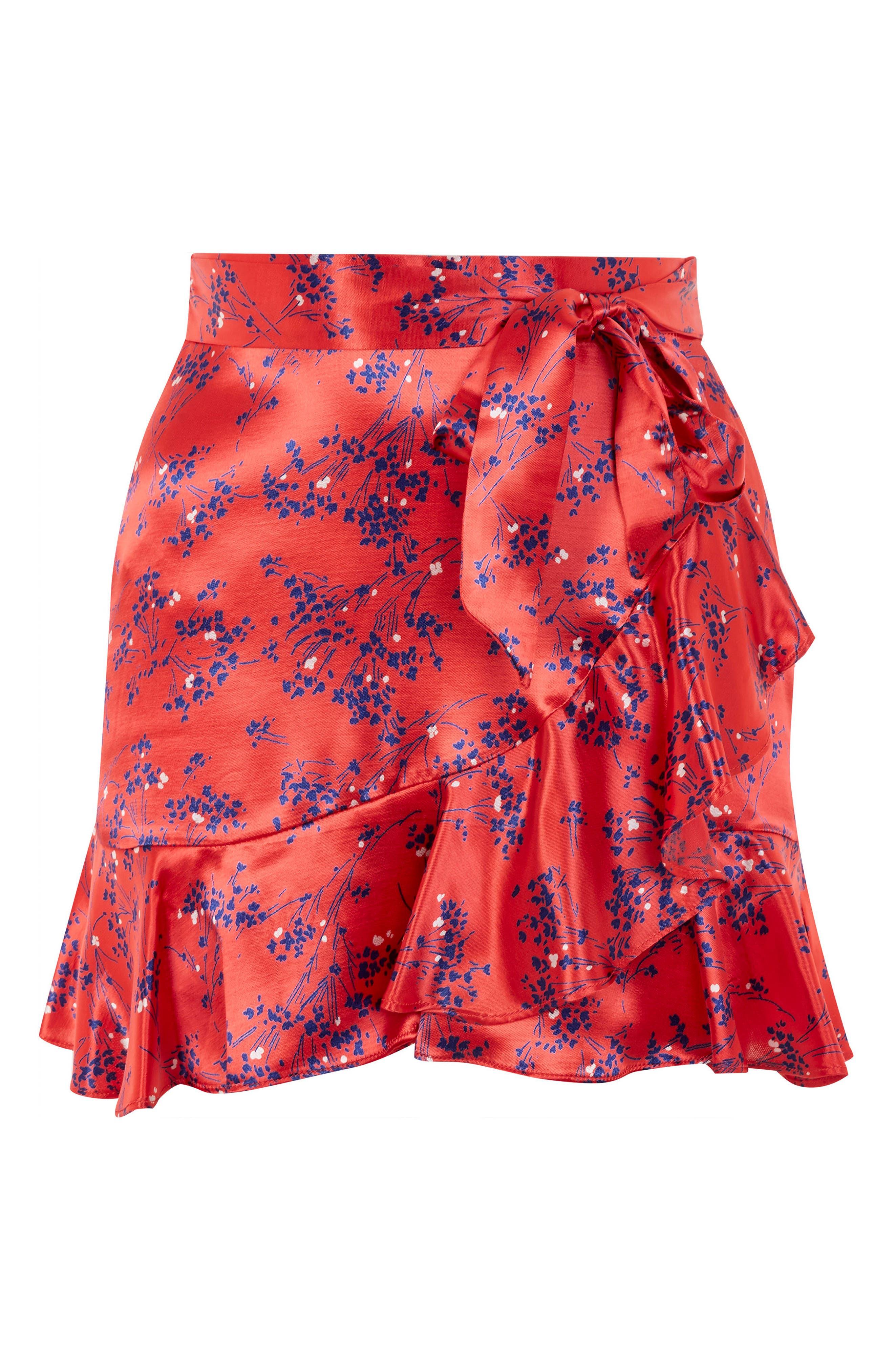 Floral Print Miniskirt,                             Alternate thumbnail 4, color,                             Red Multi