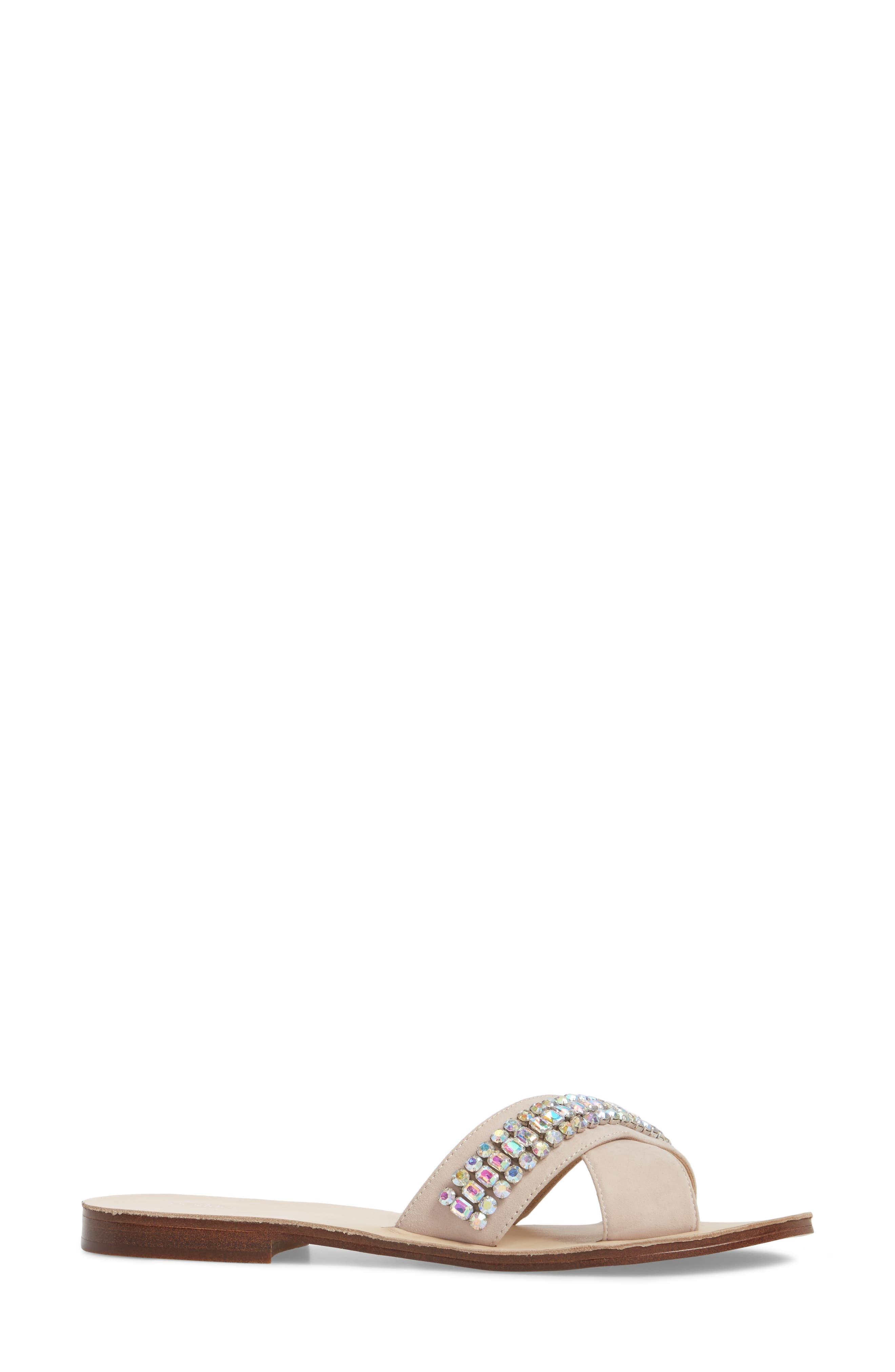 Alana Slide Sandal,                             Alternate thumbnail 3, color,                             Blush Stone Suede