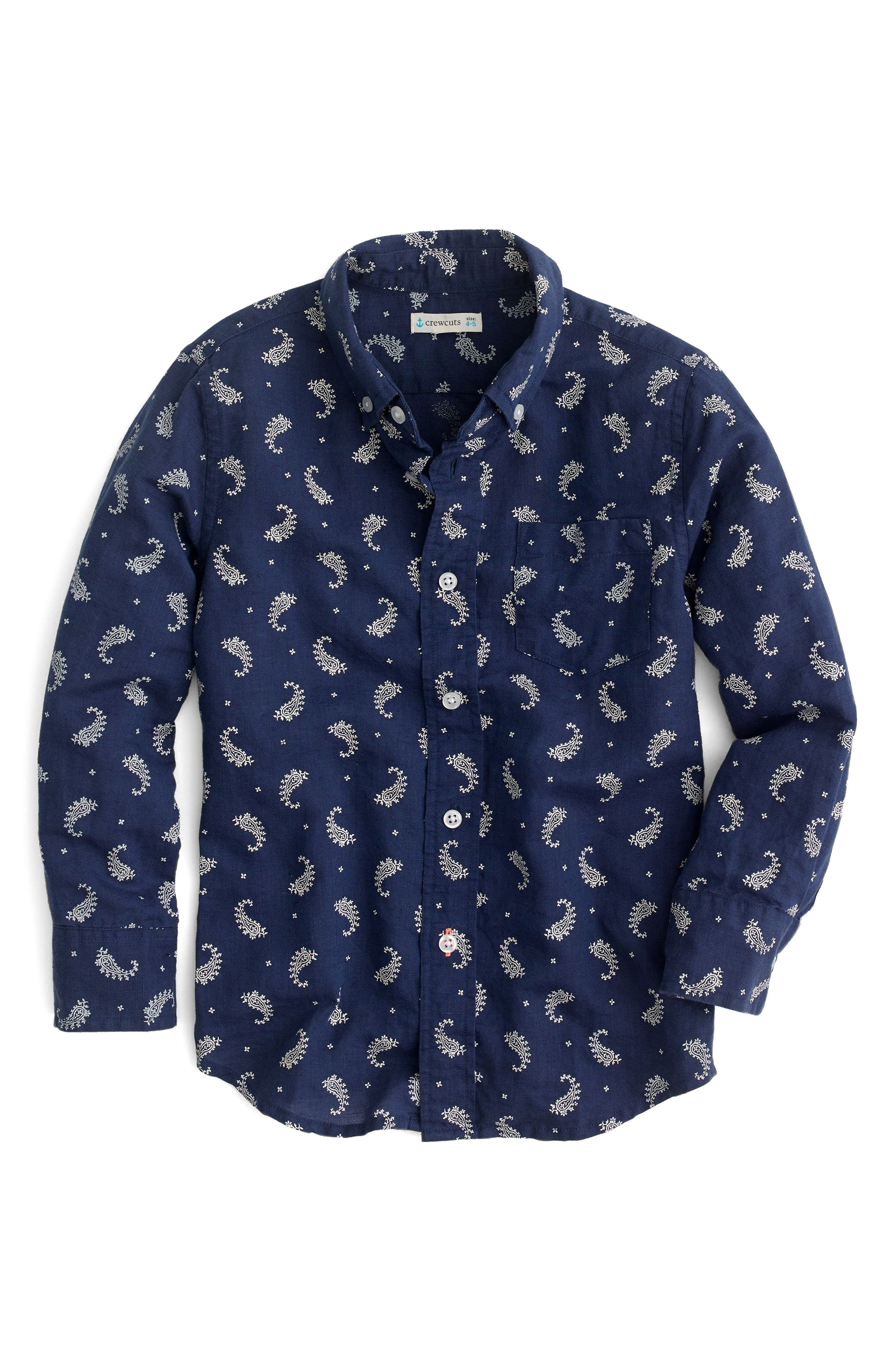 Paisley Print Cotton & Linen Dress Shirt,                         Main,                         color, Indigo Bandana