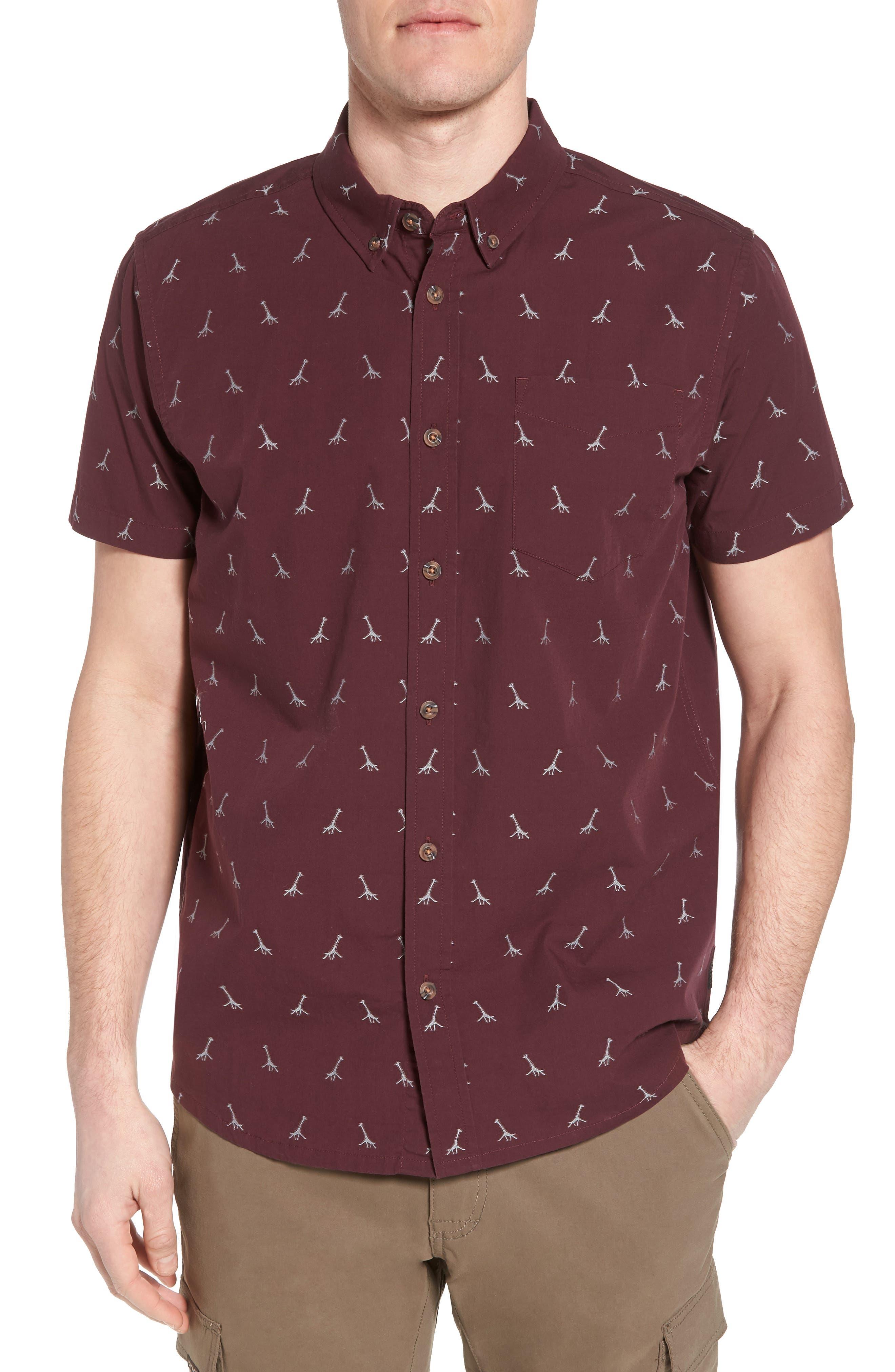 Broderick Slim Fit Short Sleeve Sport Shirt,                         Main,                         color, Thistle