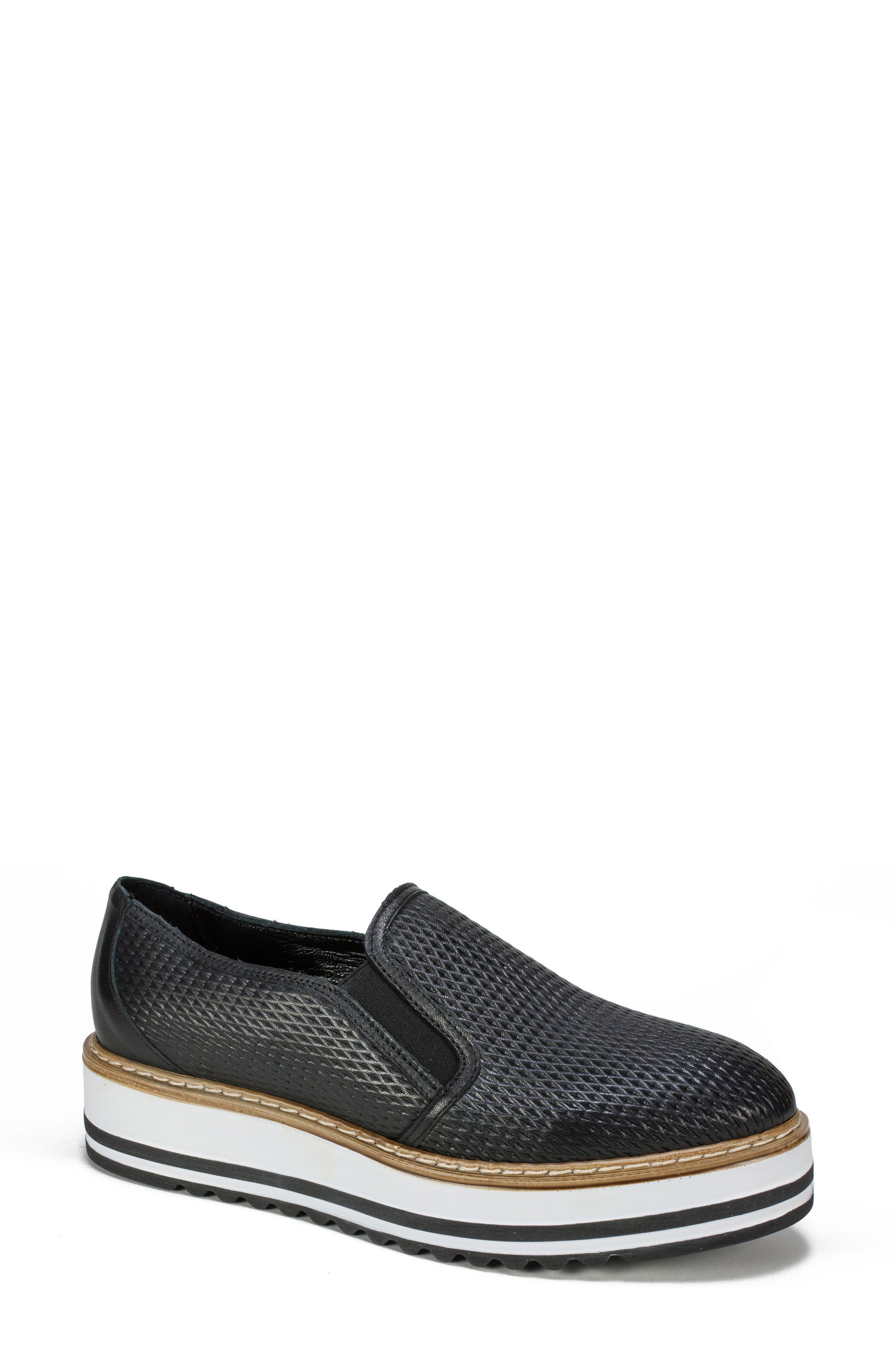 Belton Platform Slip-On,                             Main thumbnail 1, color,                             Black Textured Leather