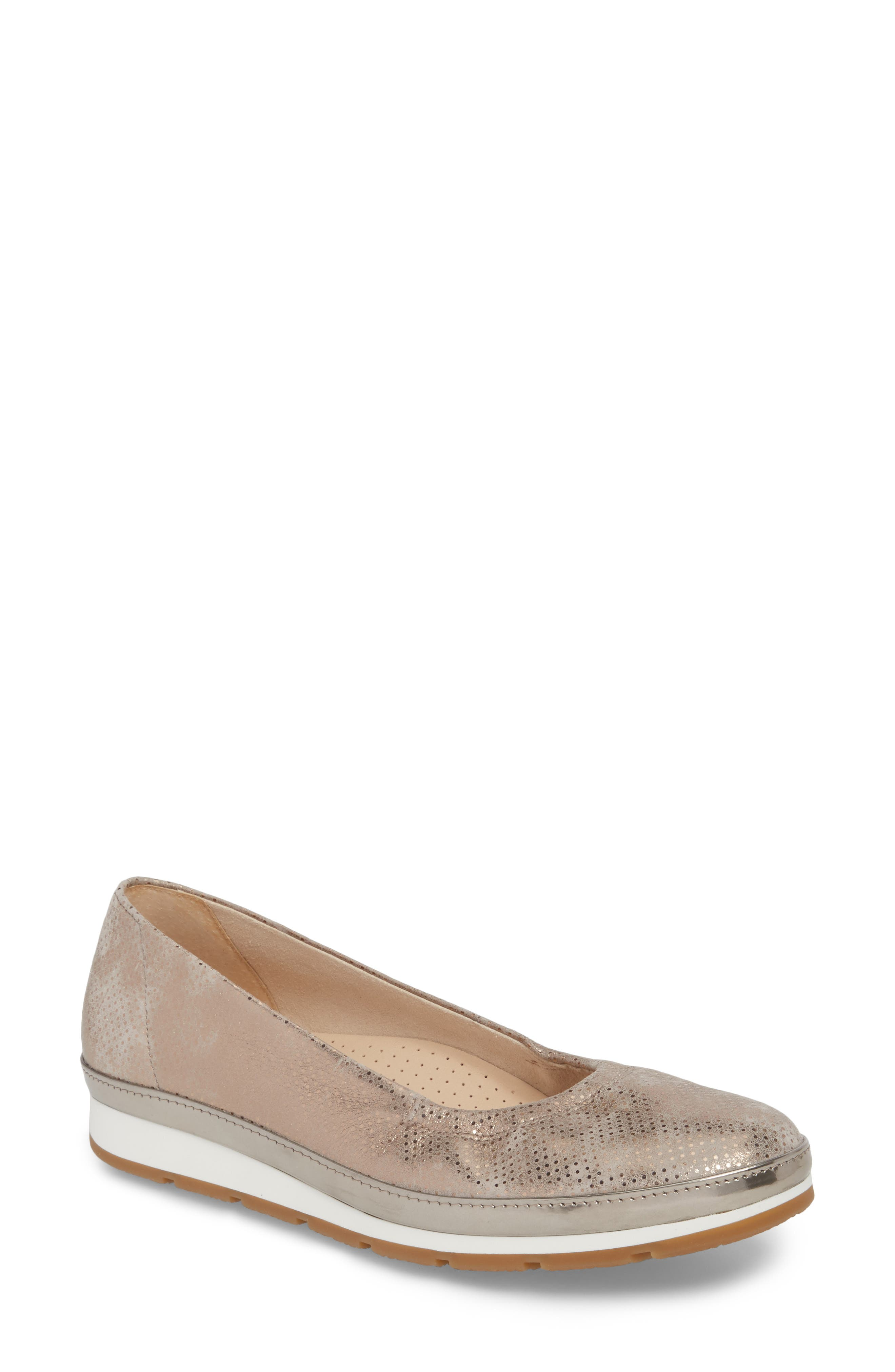 Ballet Wedge,                             Main thumbnail 1, color,                             Beige Metallic Leather