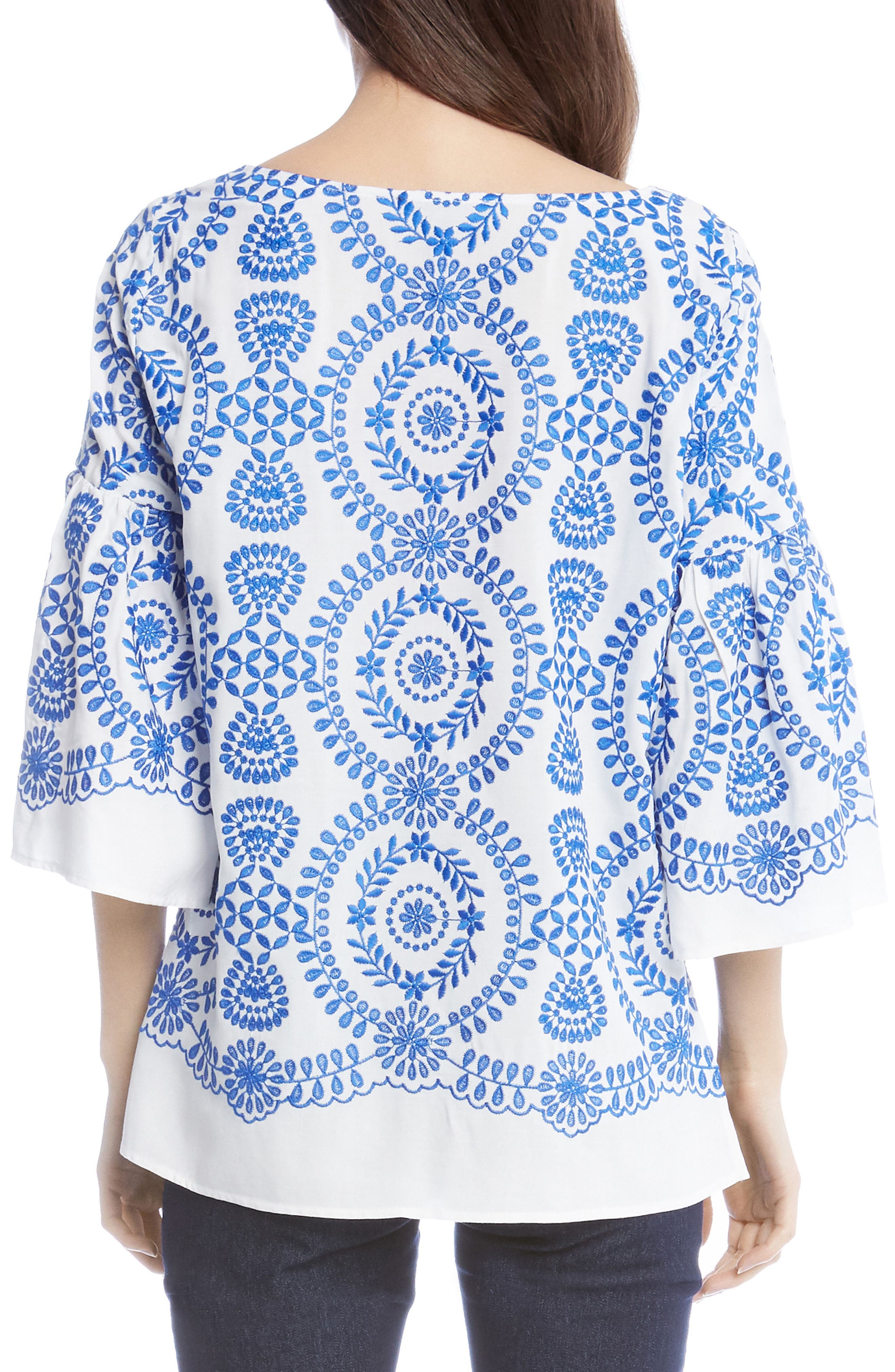 Embroidered Medallion Top,                             Alternate thumbnail 2, color,                             Off White