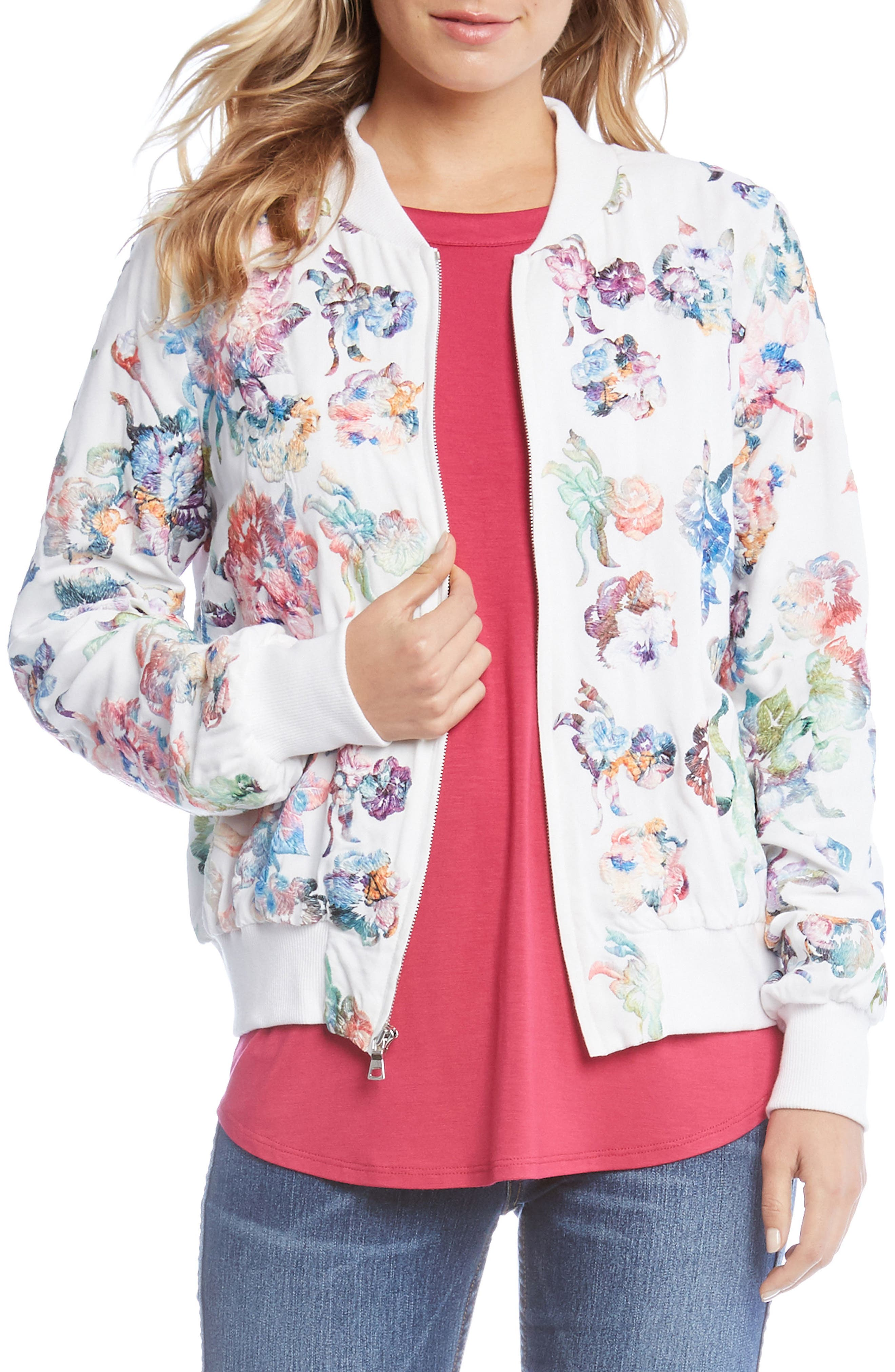 Embroidered Floral Bomber Jacket,                             Main thumbnail 1, color,                             Multi-Colored