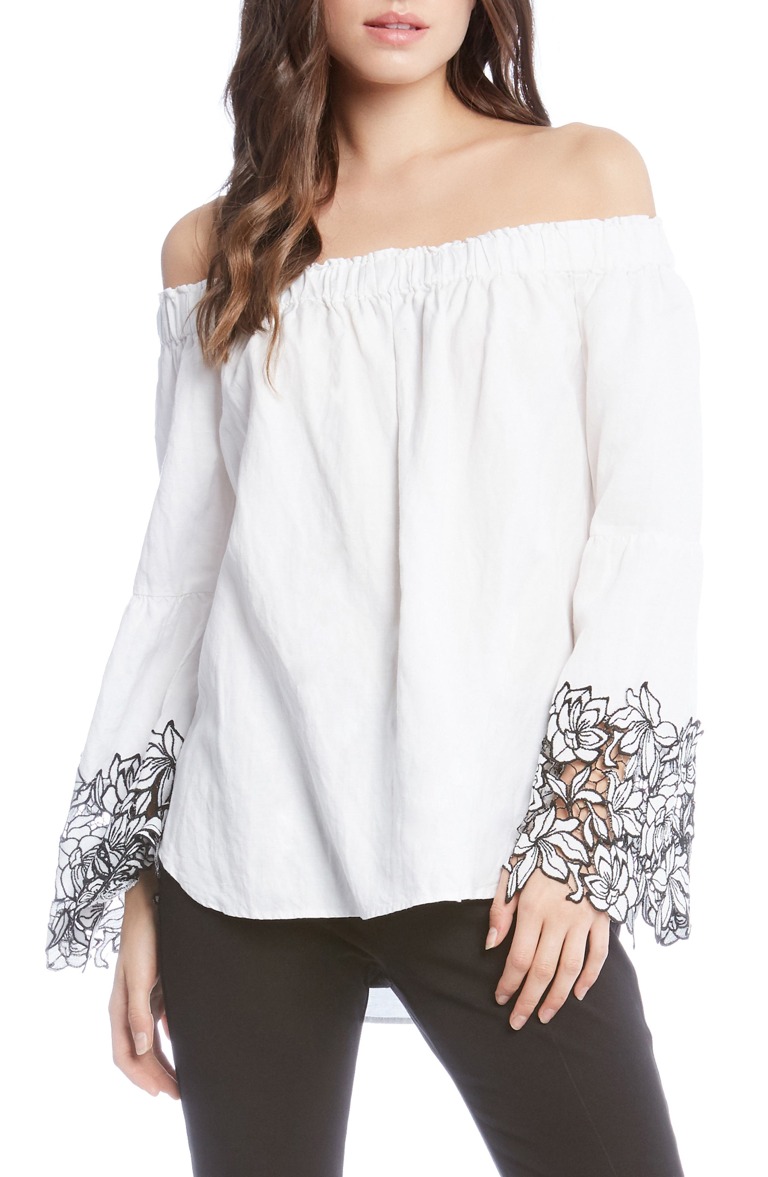Off the Shoulder Top,                             Main thumbnail 1, color,                             Off White