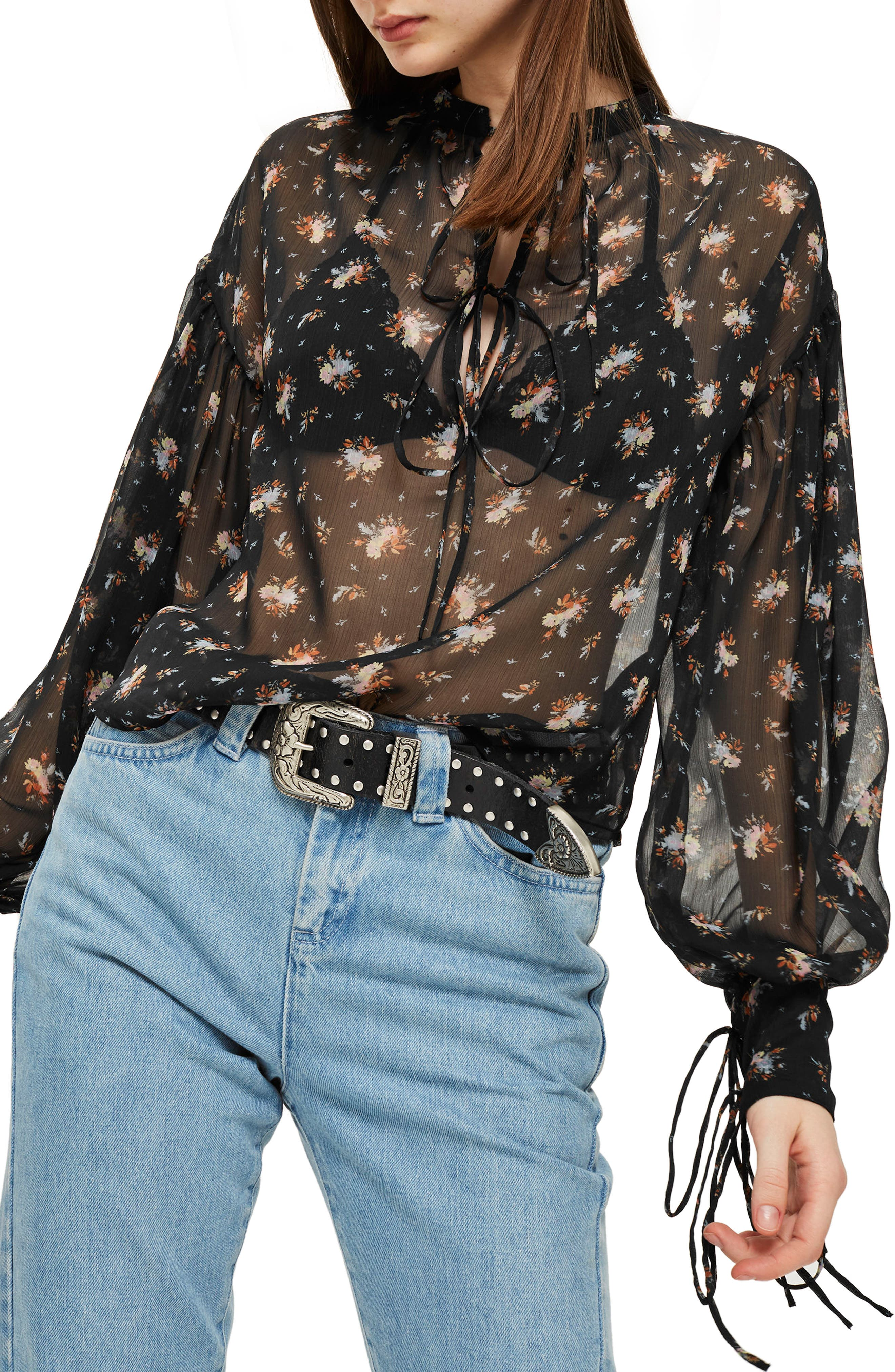 Gypsy Floral Sheer Blouse,                         Main,                         color, Black Multi