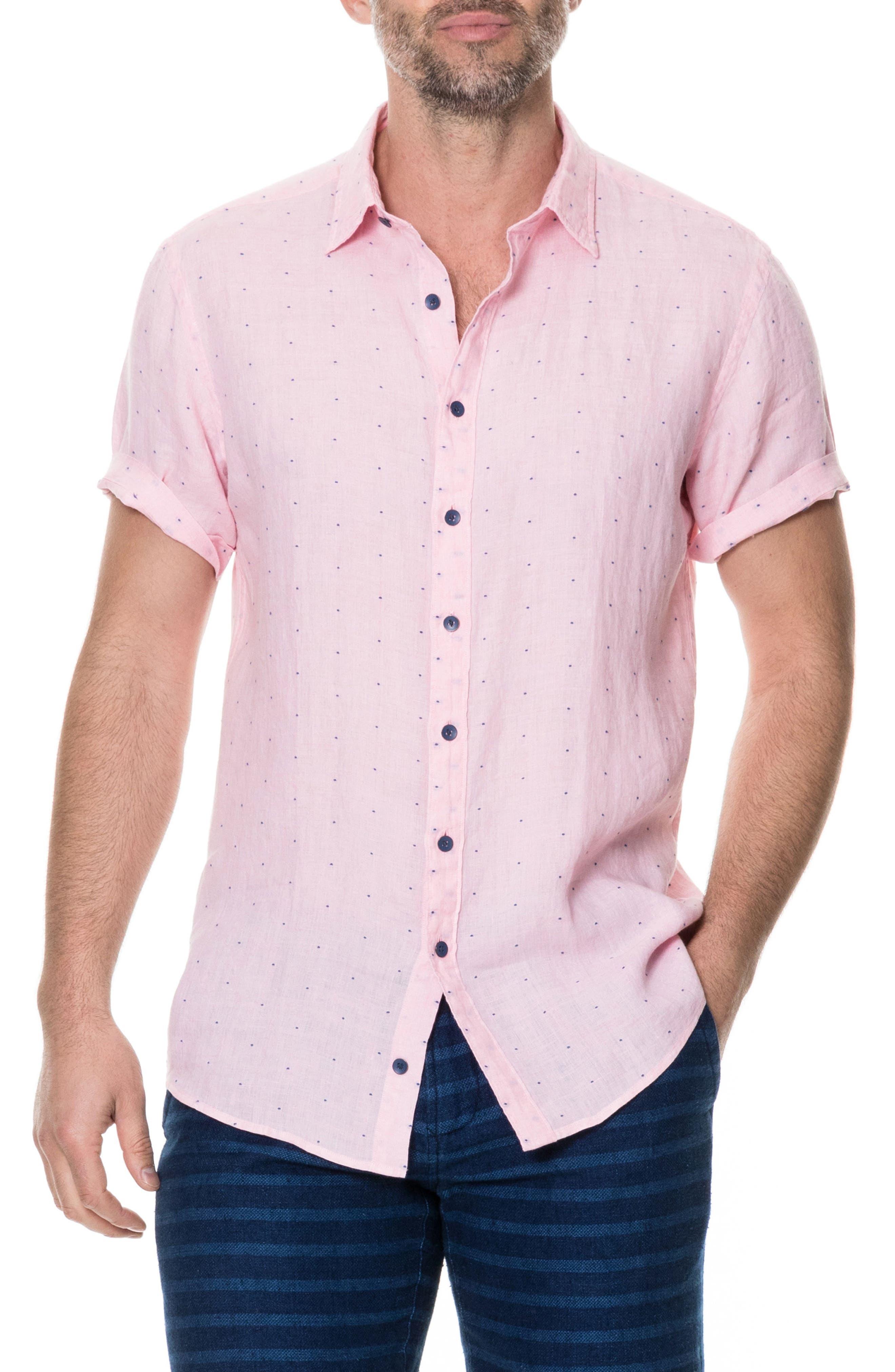 Landmark Slim Fit Dot Linen Sport Shirt,                         Main,                         color, Quartz