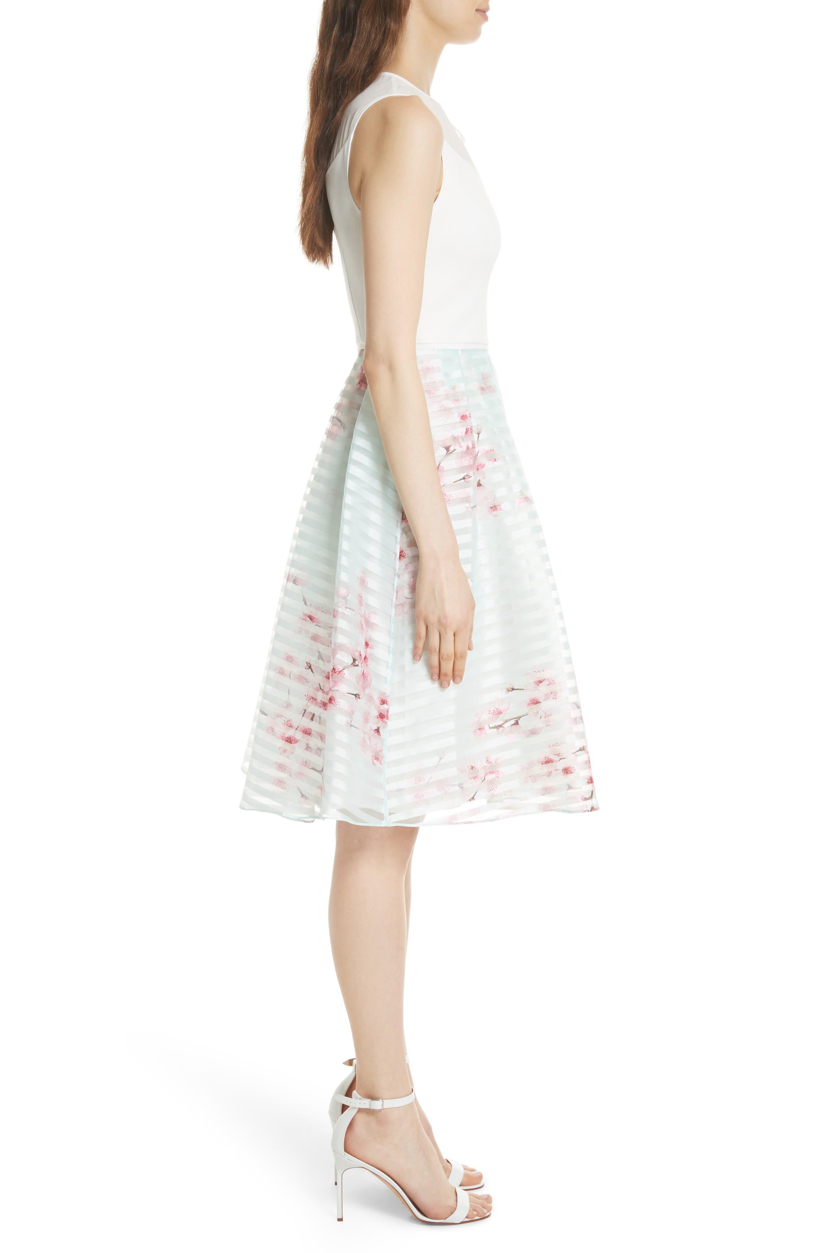 Soft Blossom Fit & Flare Dress,                             Alternate thumbnail 3, color,                             Natural